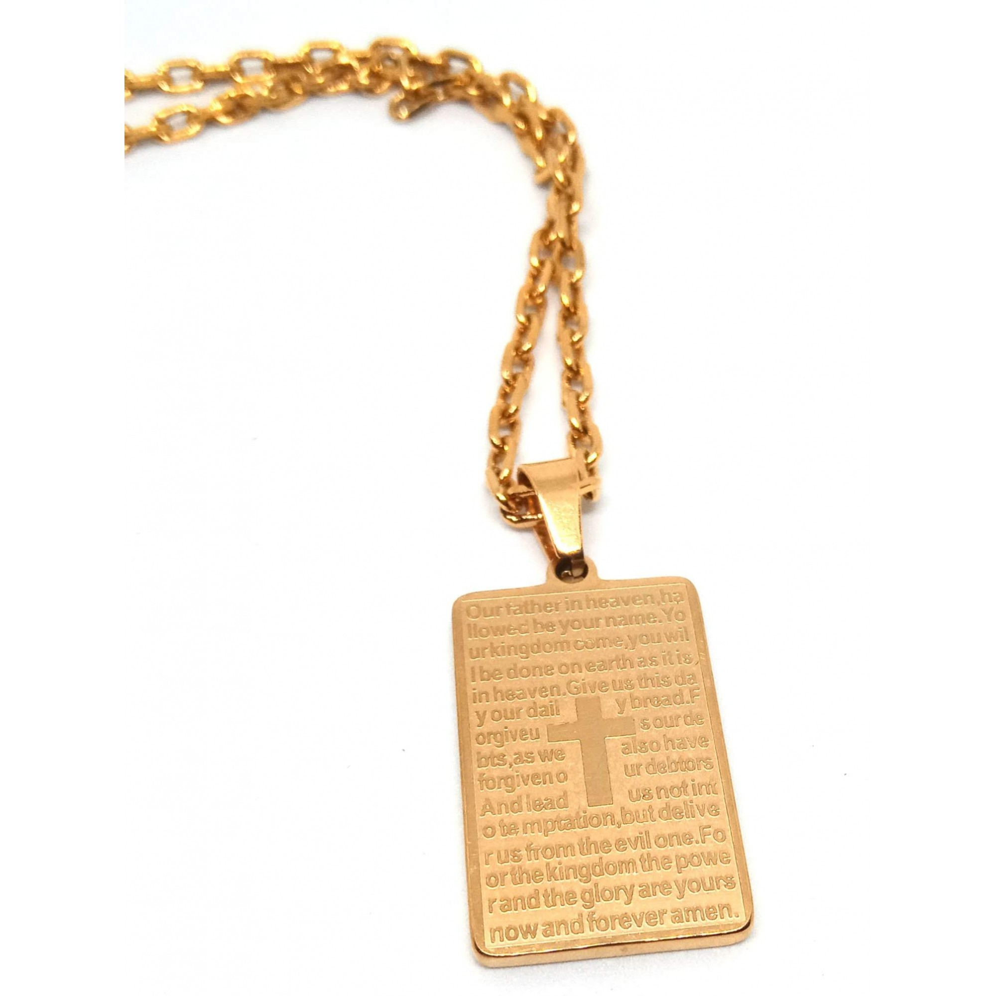 Cordão Corrente Elo Cadeado Banhada Ouro 18k Placa Pai Nosso