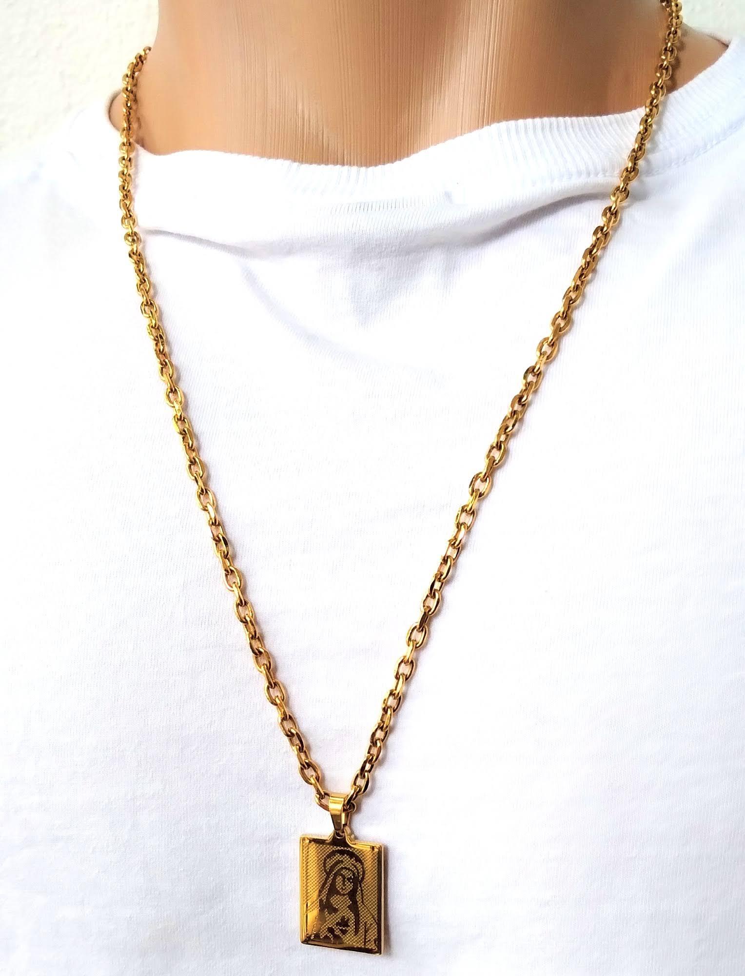 Cordão Corrente Elo Cadeado Banhada Ouro 18k Virgem Maria