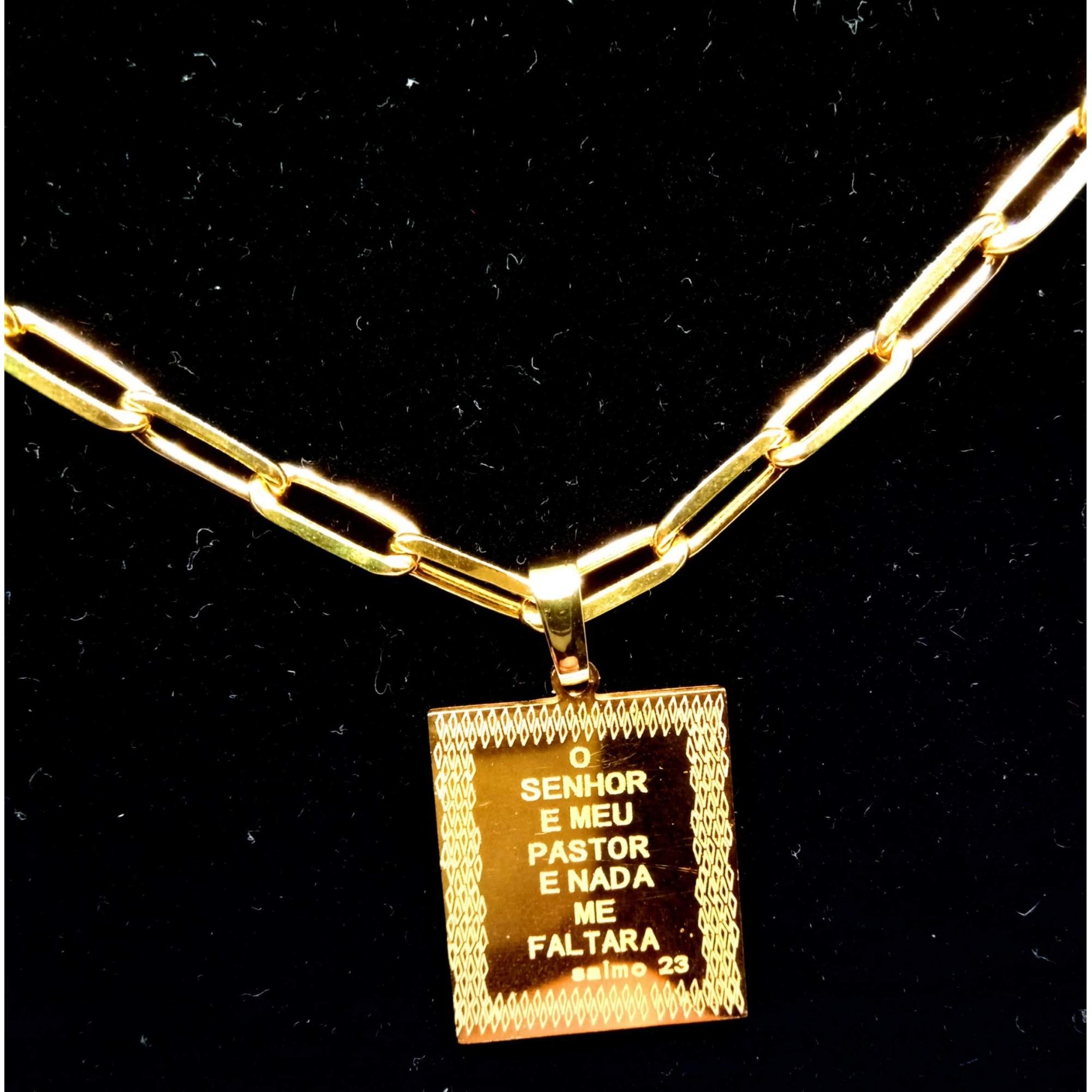 Cordão Corrente Elos Cadeado Banhada Ouro 18k Placa Salmo 23