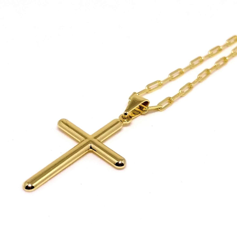 Cordão Corrente Elos Cadeado Banhada Ouro Crucifixo Liso