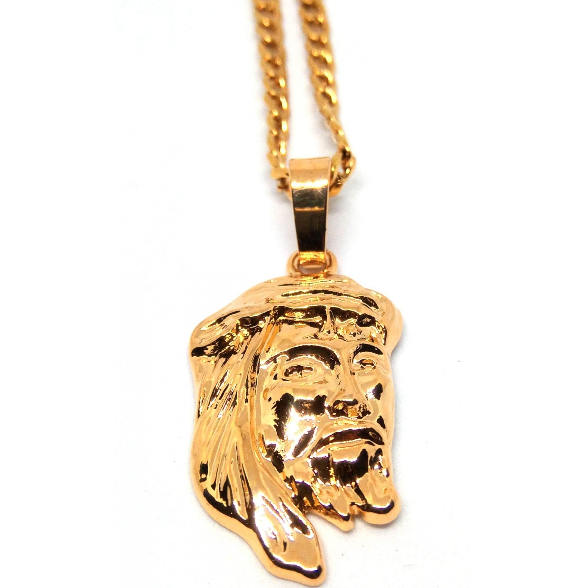 Cordão Corrente Groumet Banhada Ouro 18k Face de Cristo