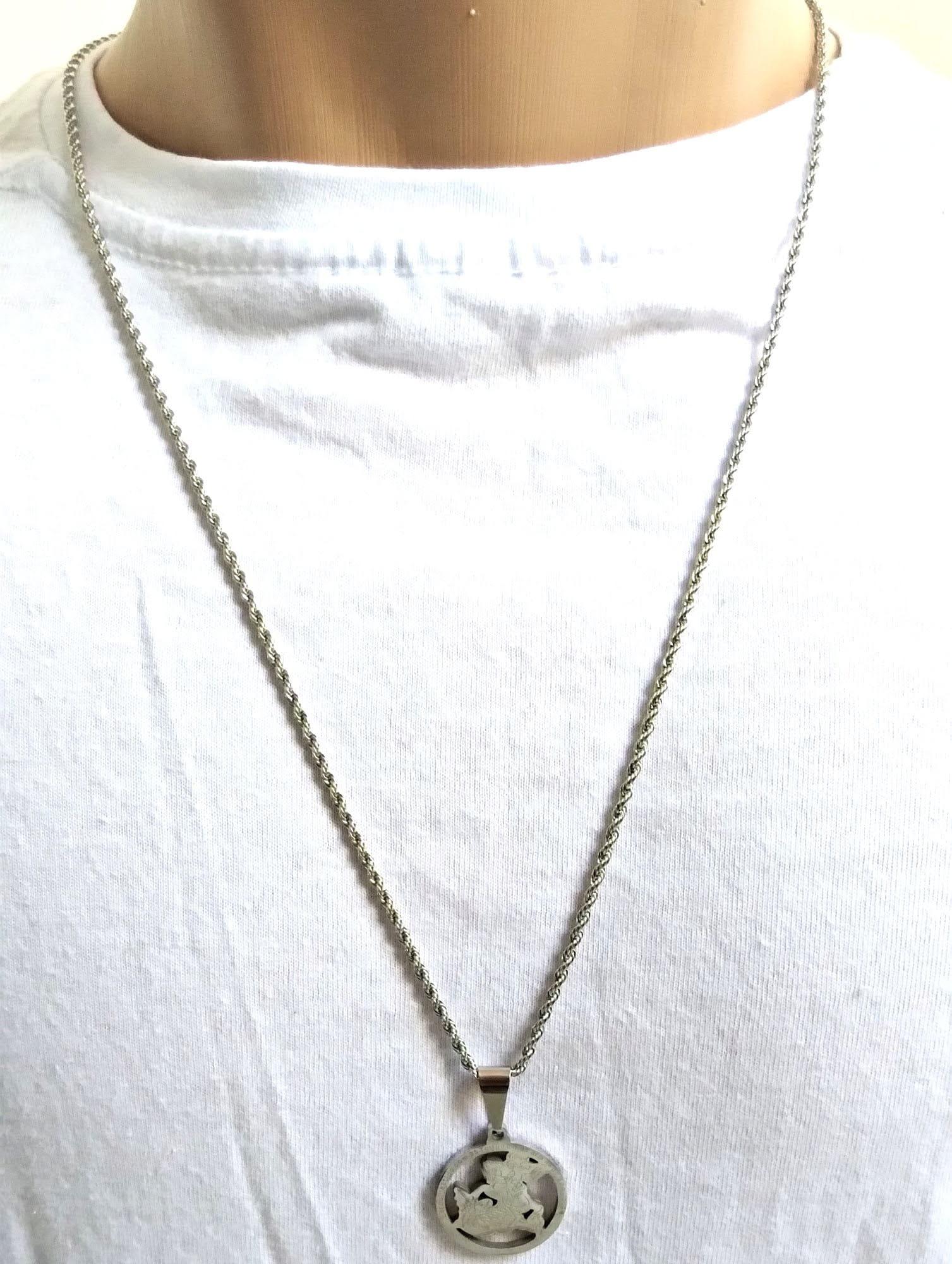 Cordão Corrente Malha Corda Aço Cirúrgico 70cm São Jorge
