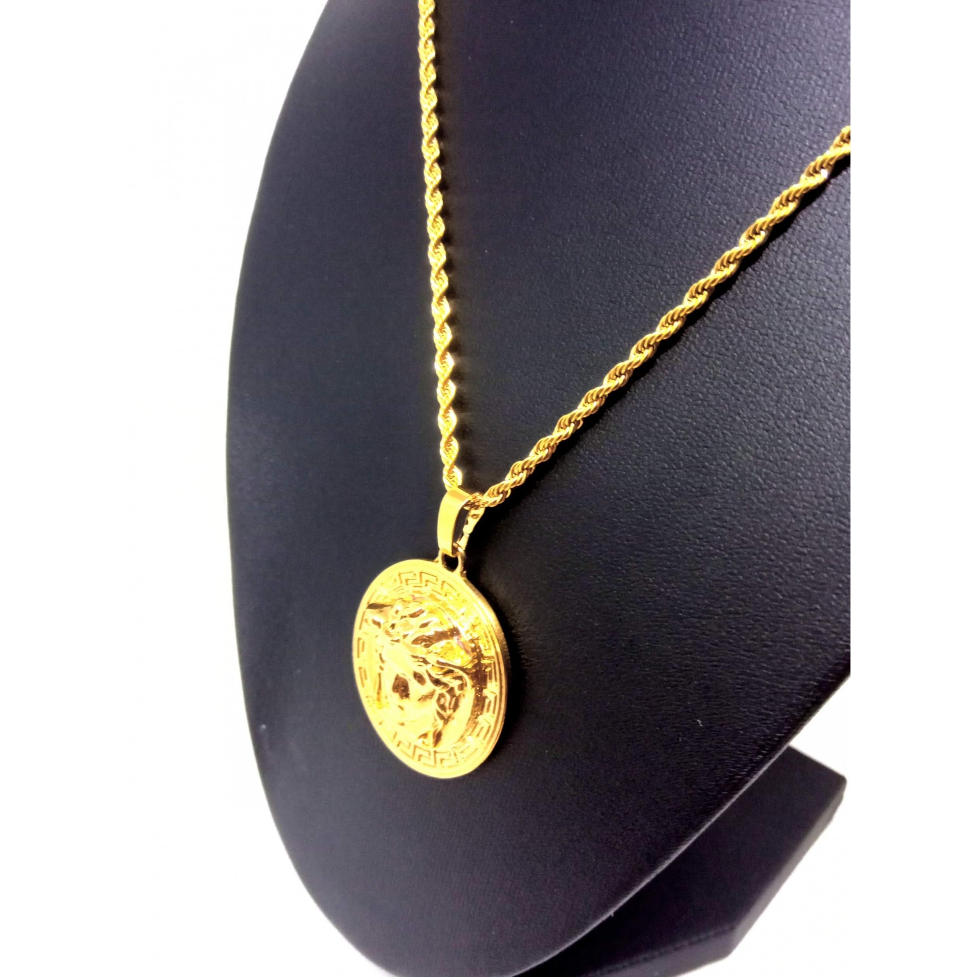 Cordão Corrente Malha Corda Banhada Ouro 18k Pingente Medusa