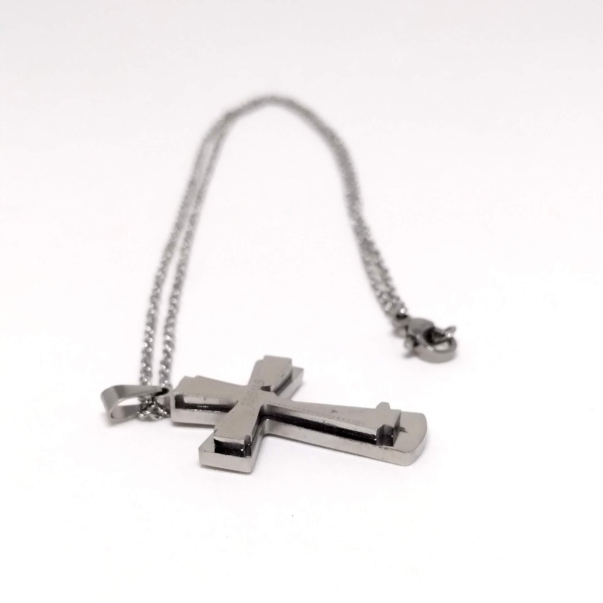 Corrente Cordão Aço Cirúrgico 316L 2mm Pingente Cruz Jesus
