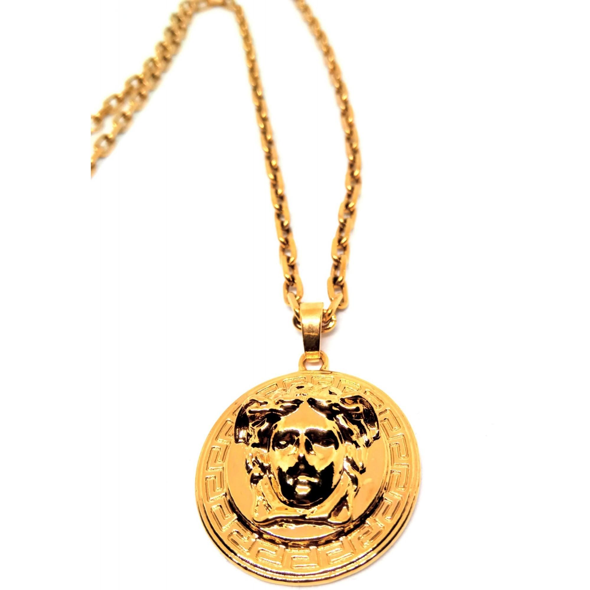 Corrente Cordão Banhado ouro 18k Elos Cadeado Medusa 4mm