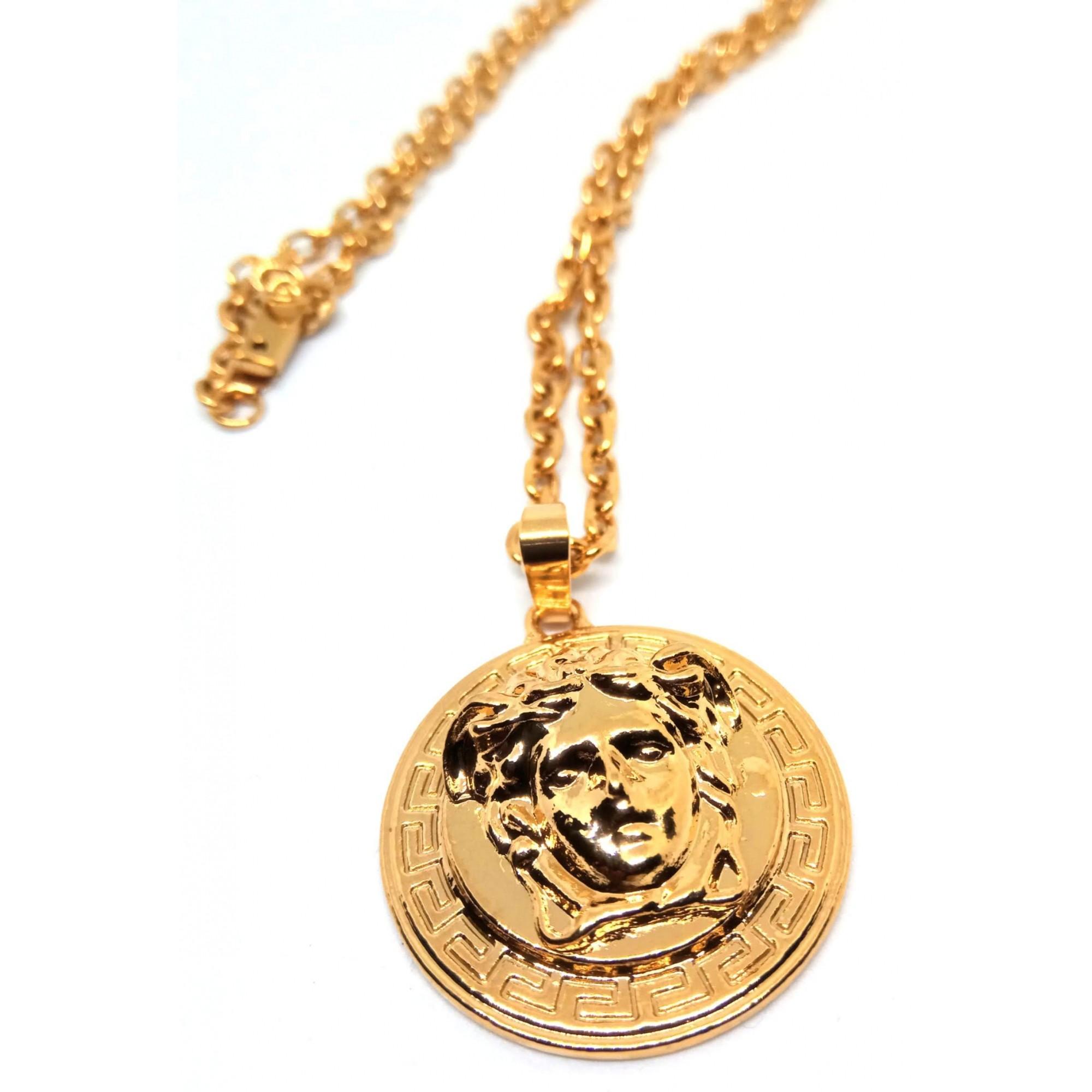 Corrente Cordão Banhado ouro 18k Elos Cadeado Medusa 5mm