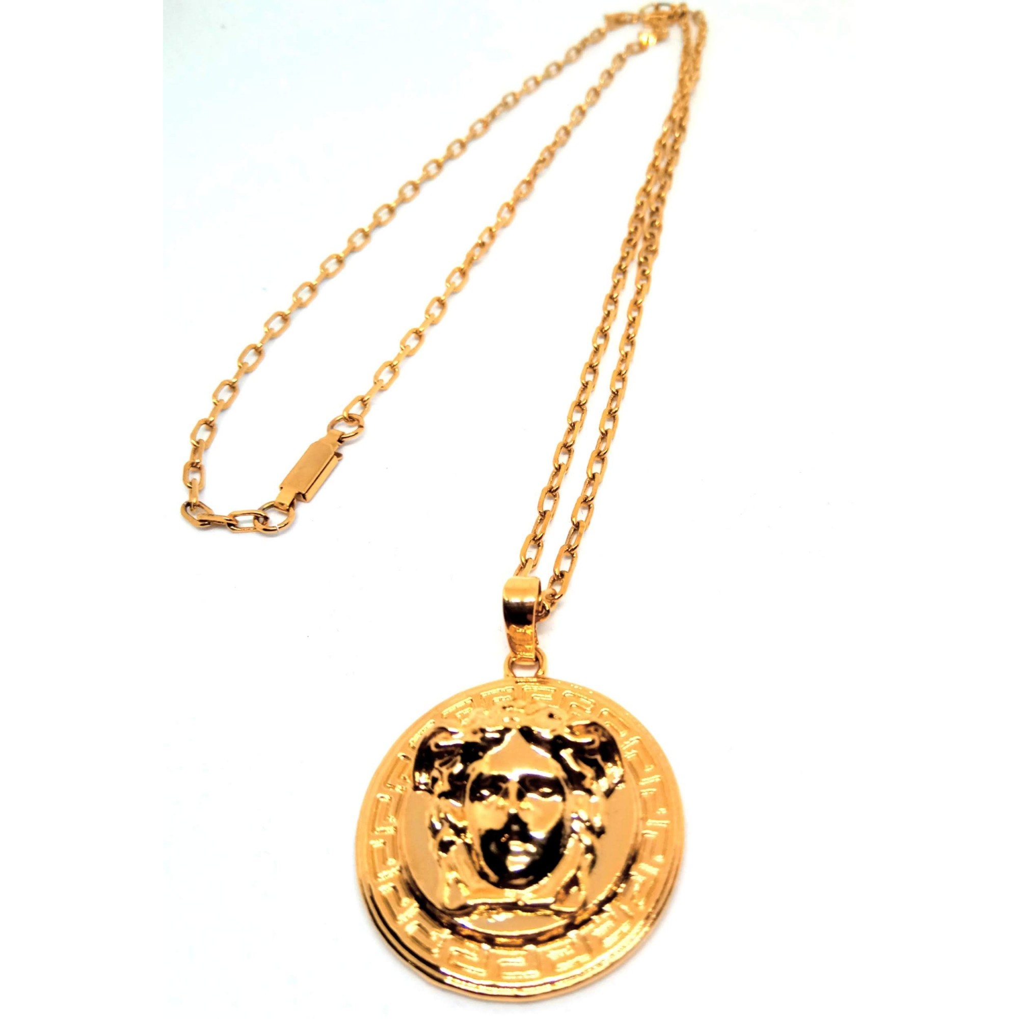 Corrente Cordão Banhado ouro 18k Elos Cadeado Medusa 3mm