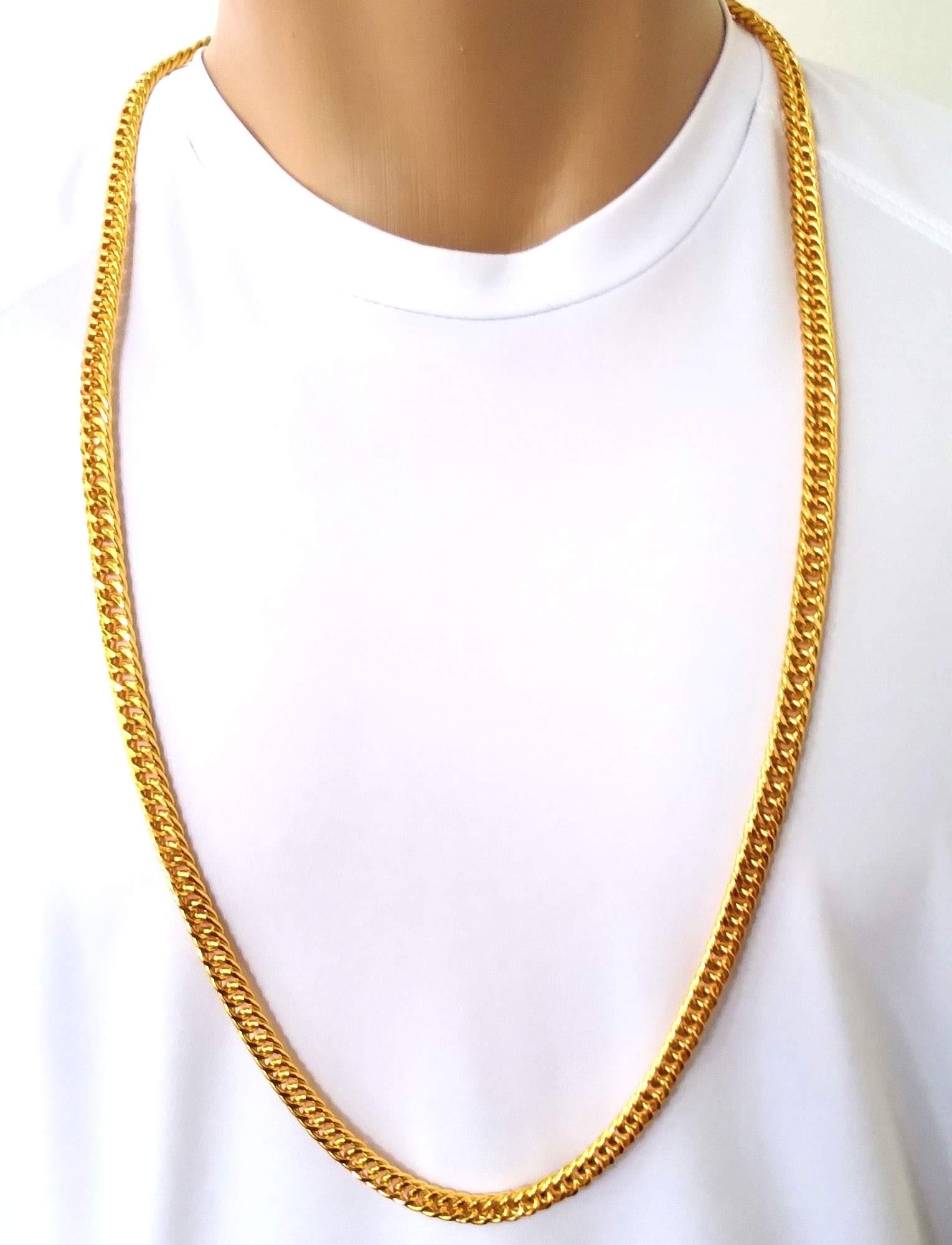 Corrente Cordão Banhado Ouro 18k Malha Groumet 90cm 8mm