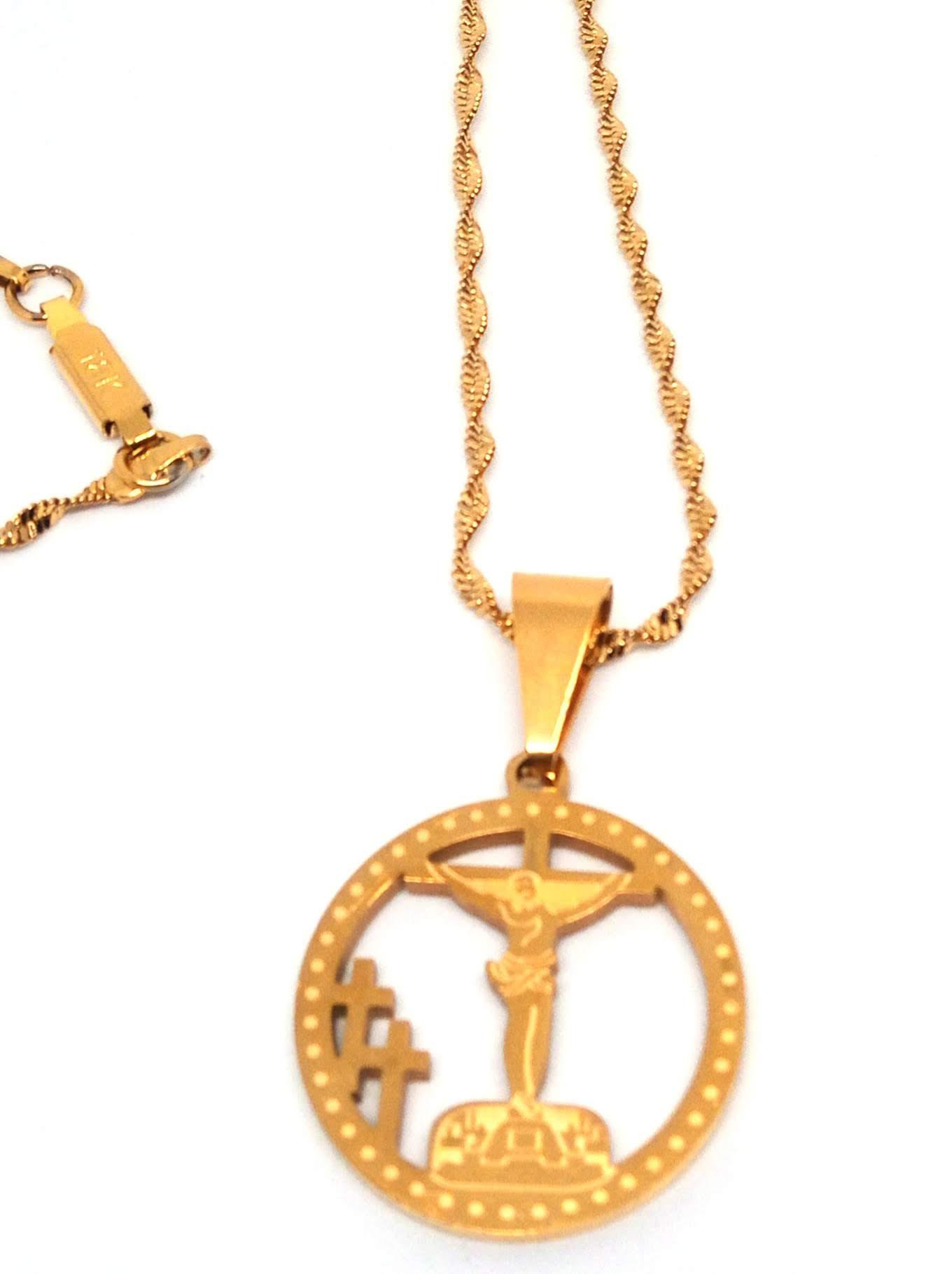 Corrente Cordão Malha Corda Banhada Ouro 18k Cristo na Cruz