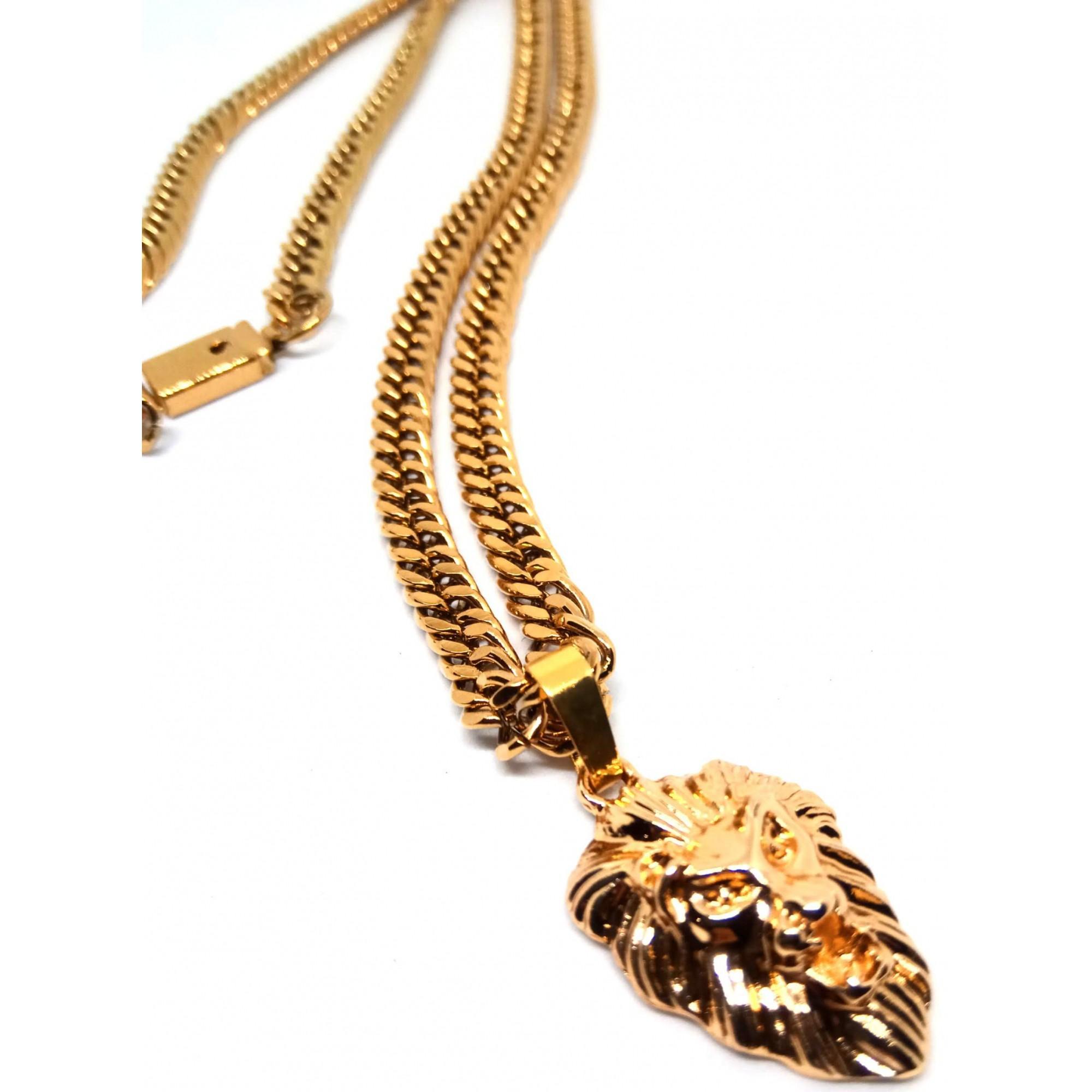 Corrente Cordão Malha Corda Banhada Ouro 18k Ping Leão