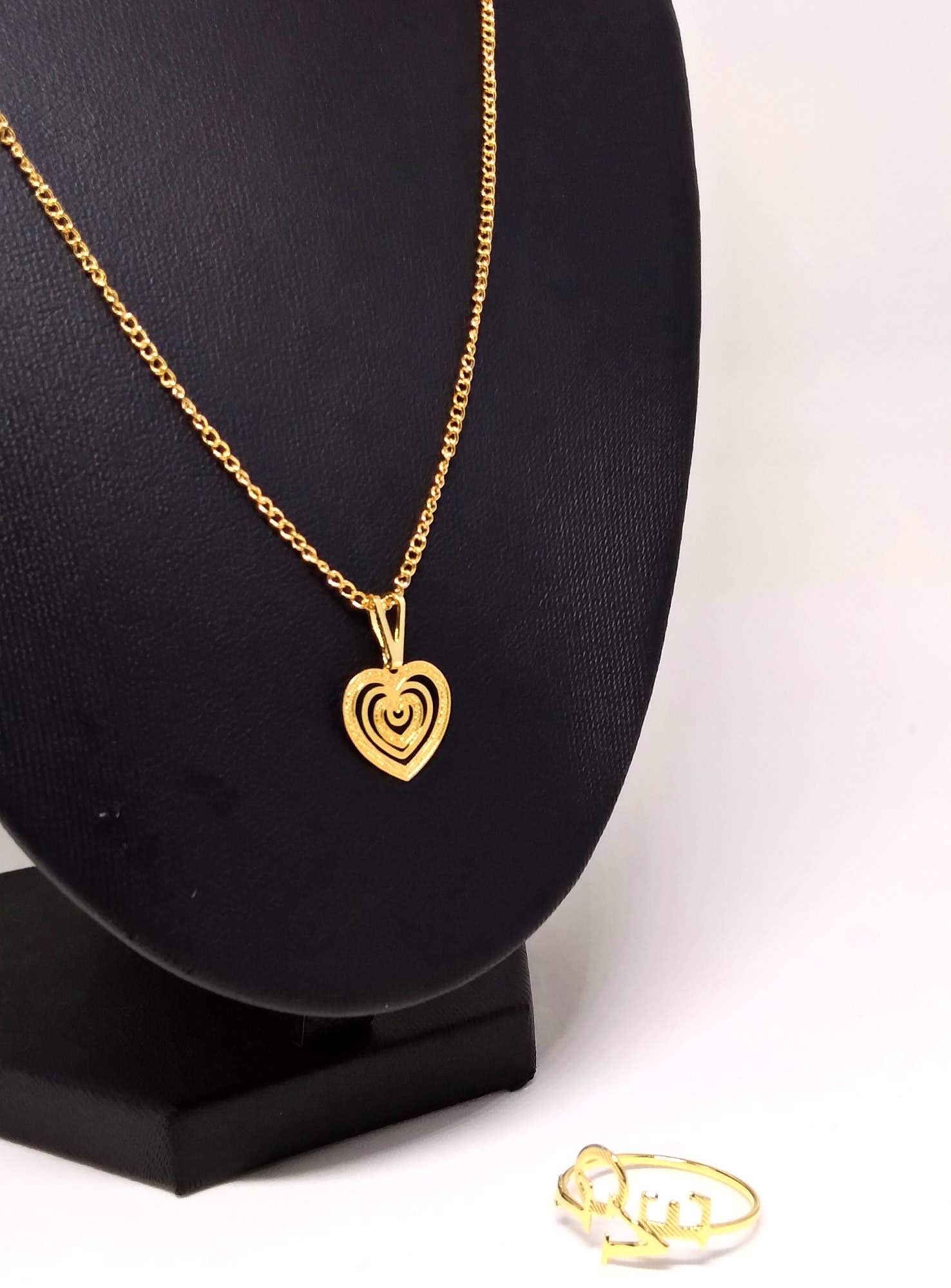Kit Anel Love 18 + Corrente Coração Banhado a ouro 18k