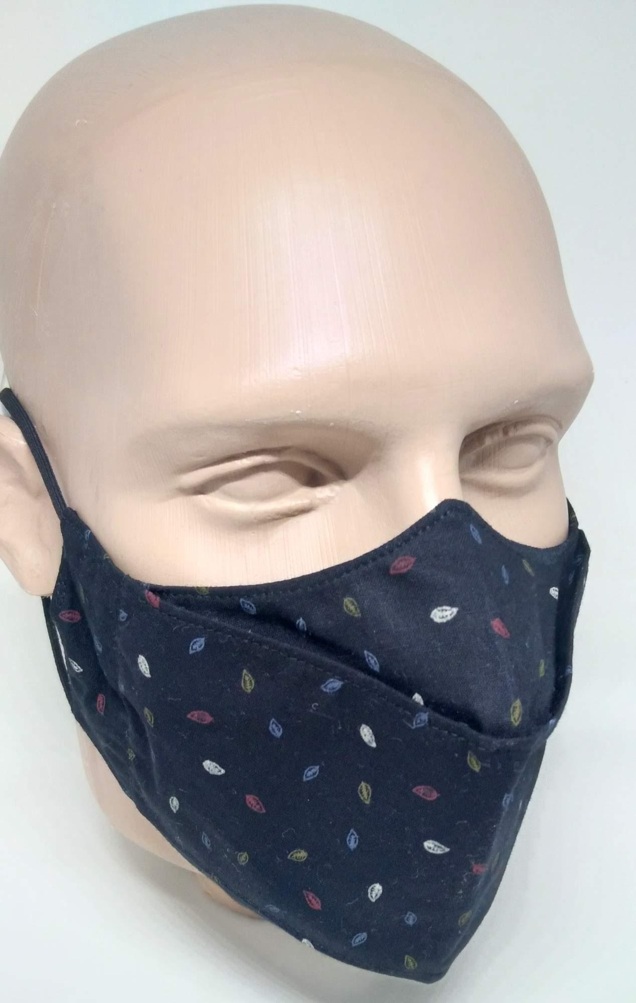 Máscara 3D Algodão Estampada Folhas Coloridas Lavável