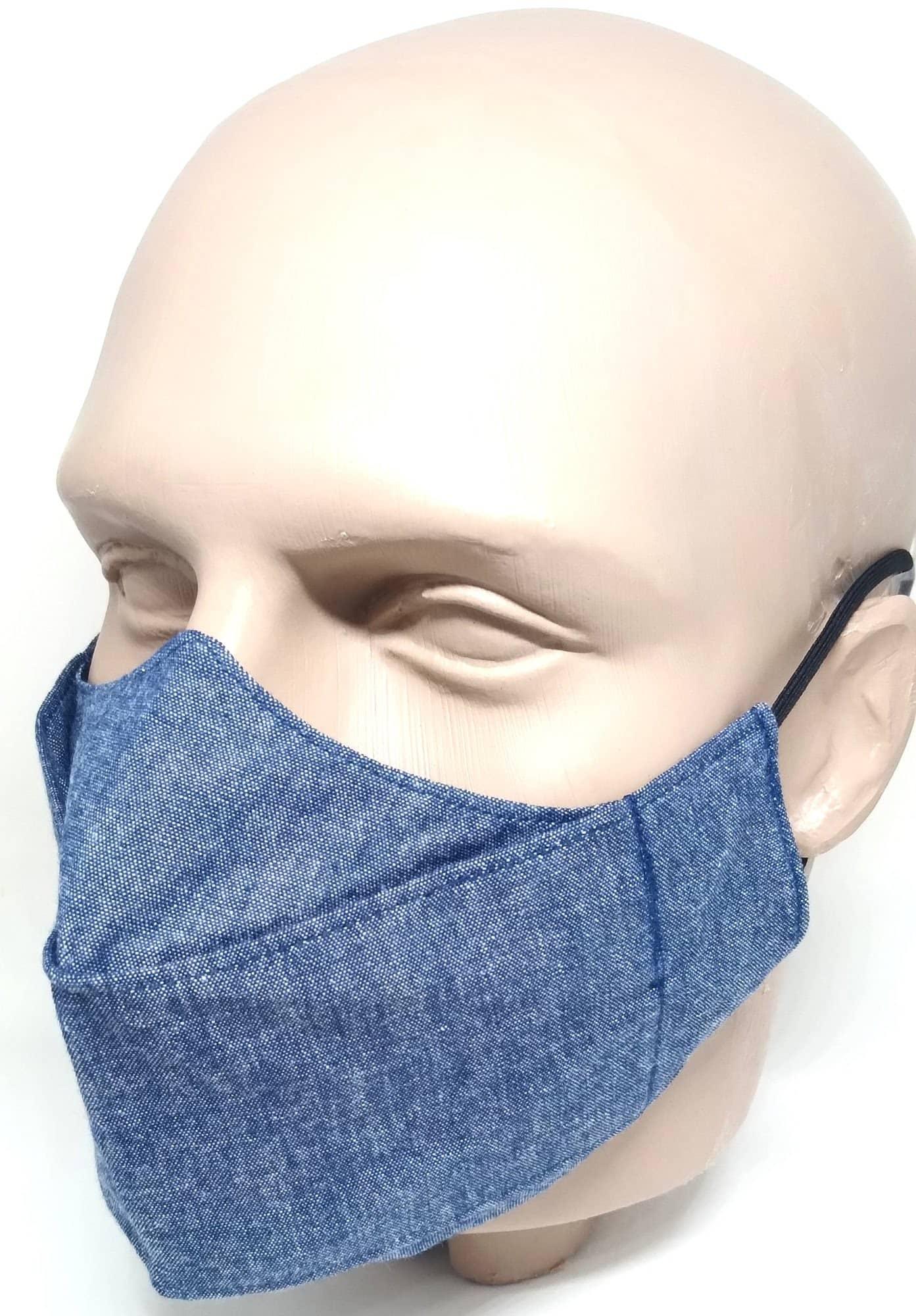 Máscara 3D Algodão Imita Jeans Azul Lavável
