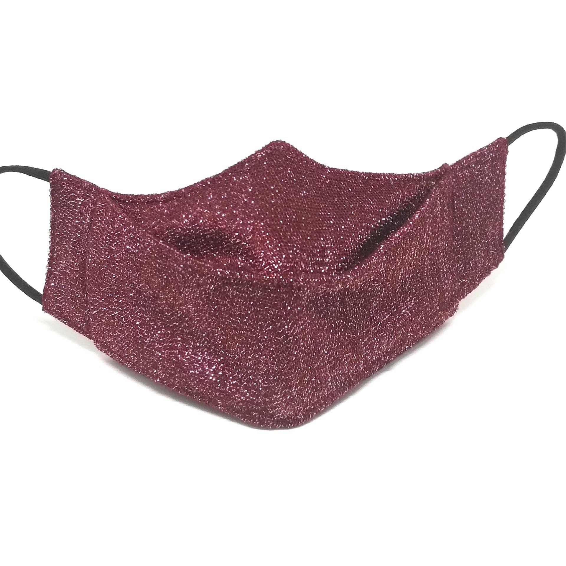 Máscara 3D Algodão Lurex Brilhoso Luxo Lavável Marsala