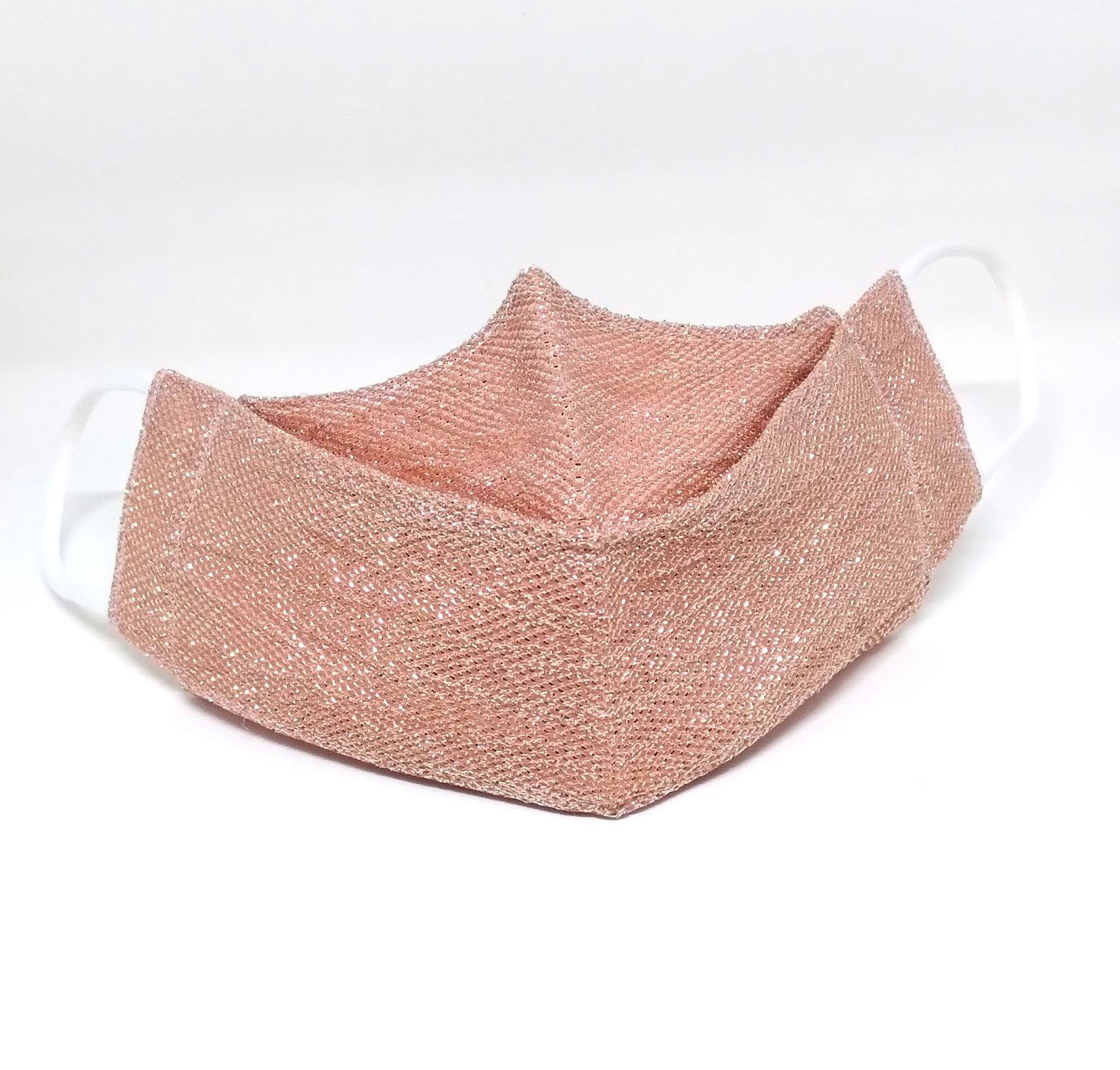 Máscara 3D Algodão Nude Rose Lurex Brilhoso Lavável