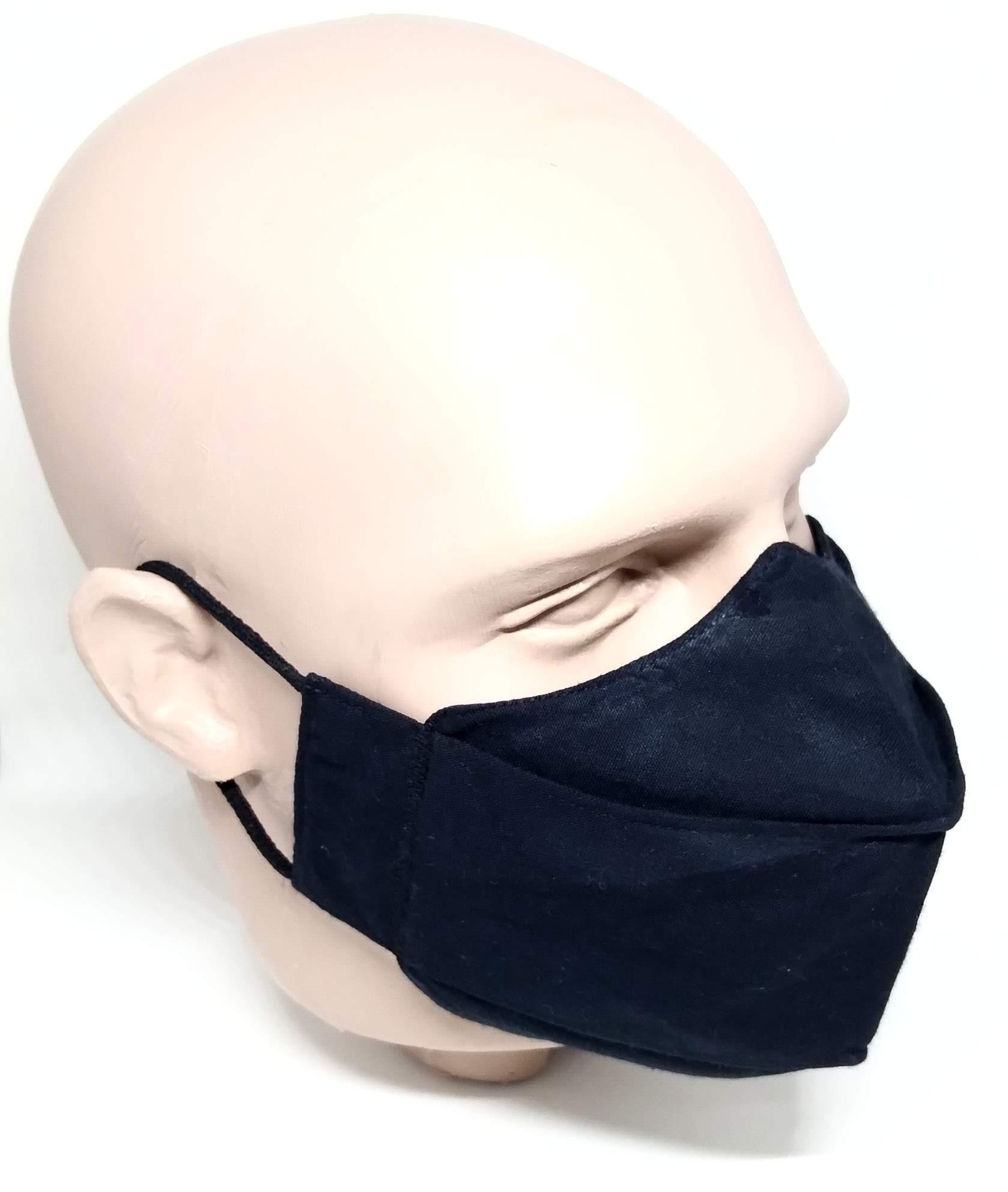 Máscara 3D Algodão Preta Lisa Lavável