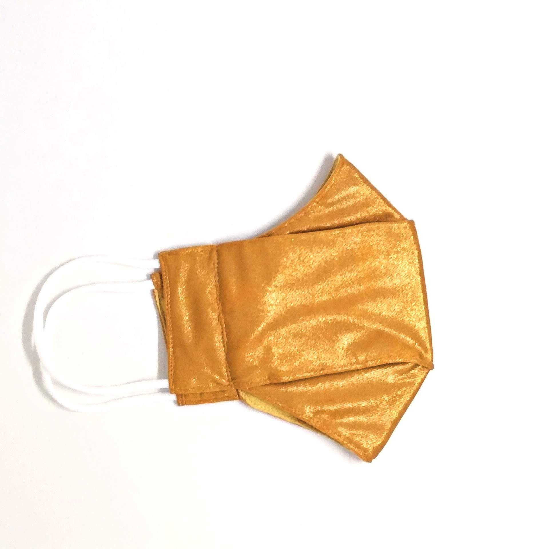 Máscara 3D Cirré Dourada Brilhosa Luxo Fashion Lavável