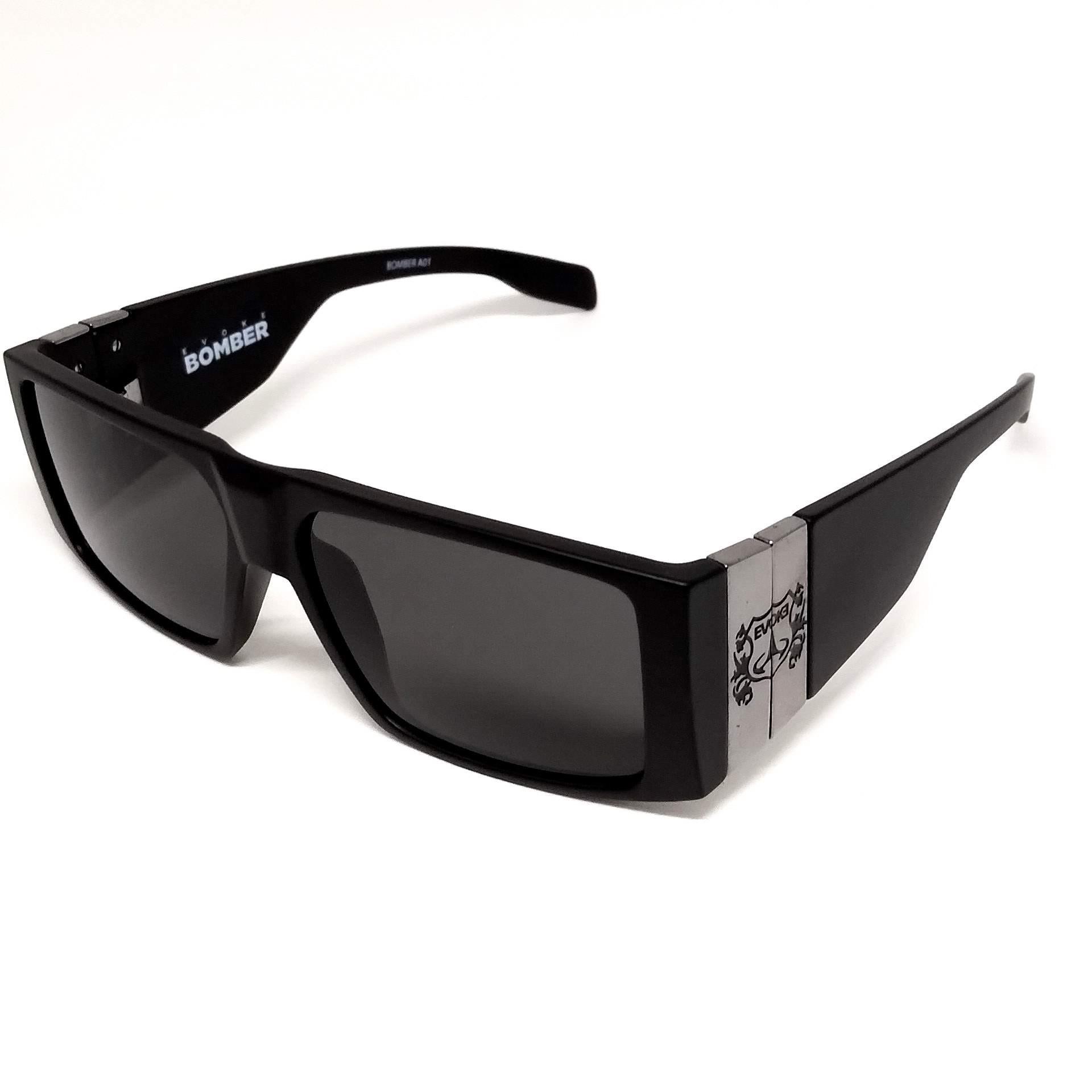 Óculos de Sol Evoke Bomber a01 Preto Cinza