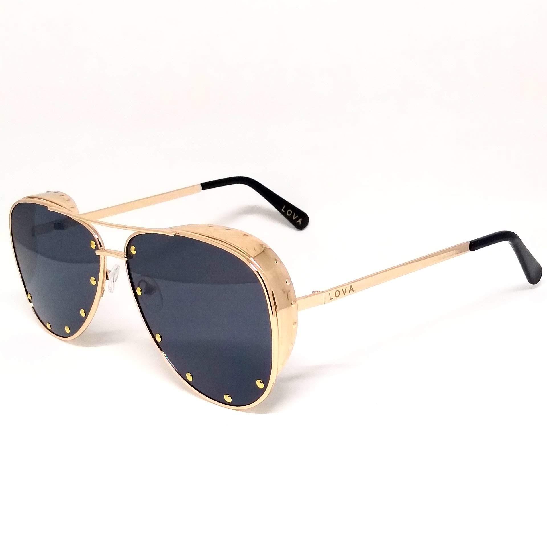 Óculos De Sol Feminino Aviador Dourado Lova Juliana