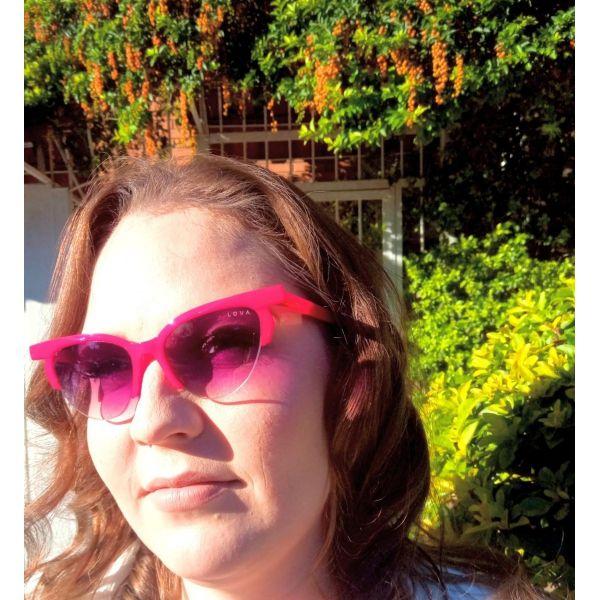 Óculos De Sol Feminino Blogstar Lova Vermelho Lentes Roxas