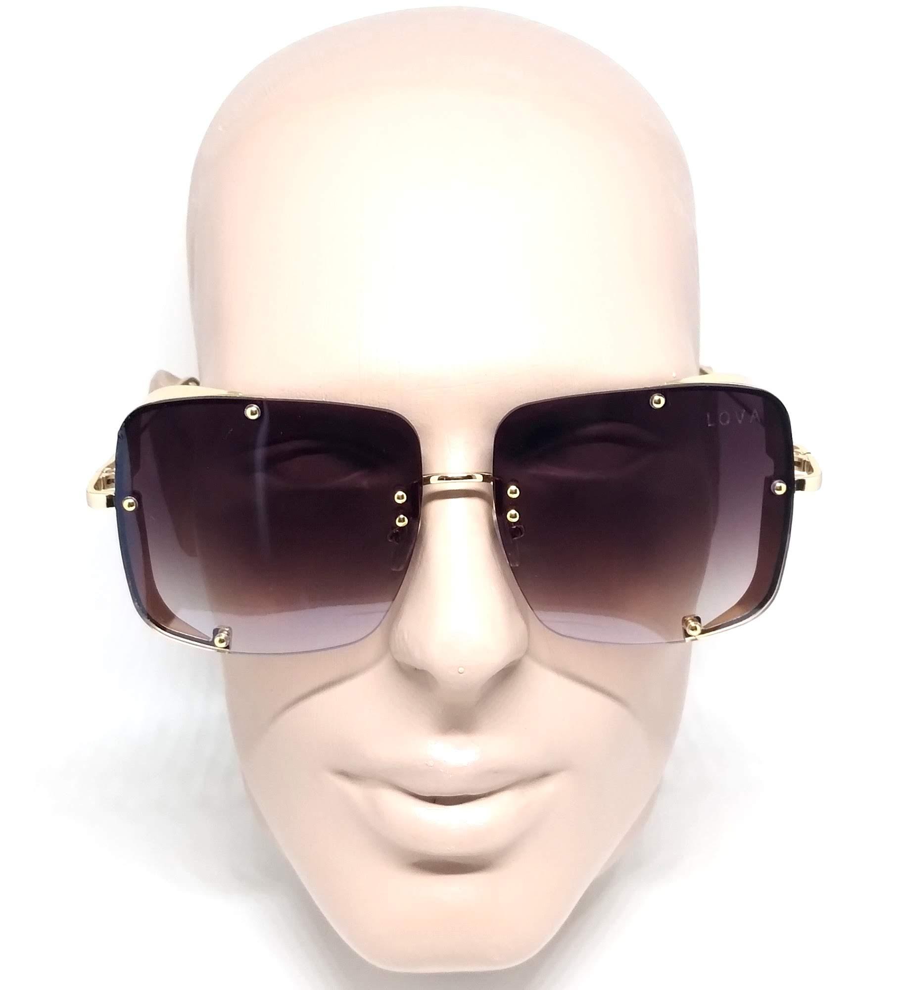 Óculos De Sol Feminino Dourado Degradê Cinza Lova Fernanda