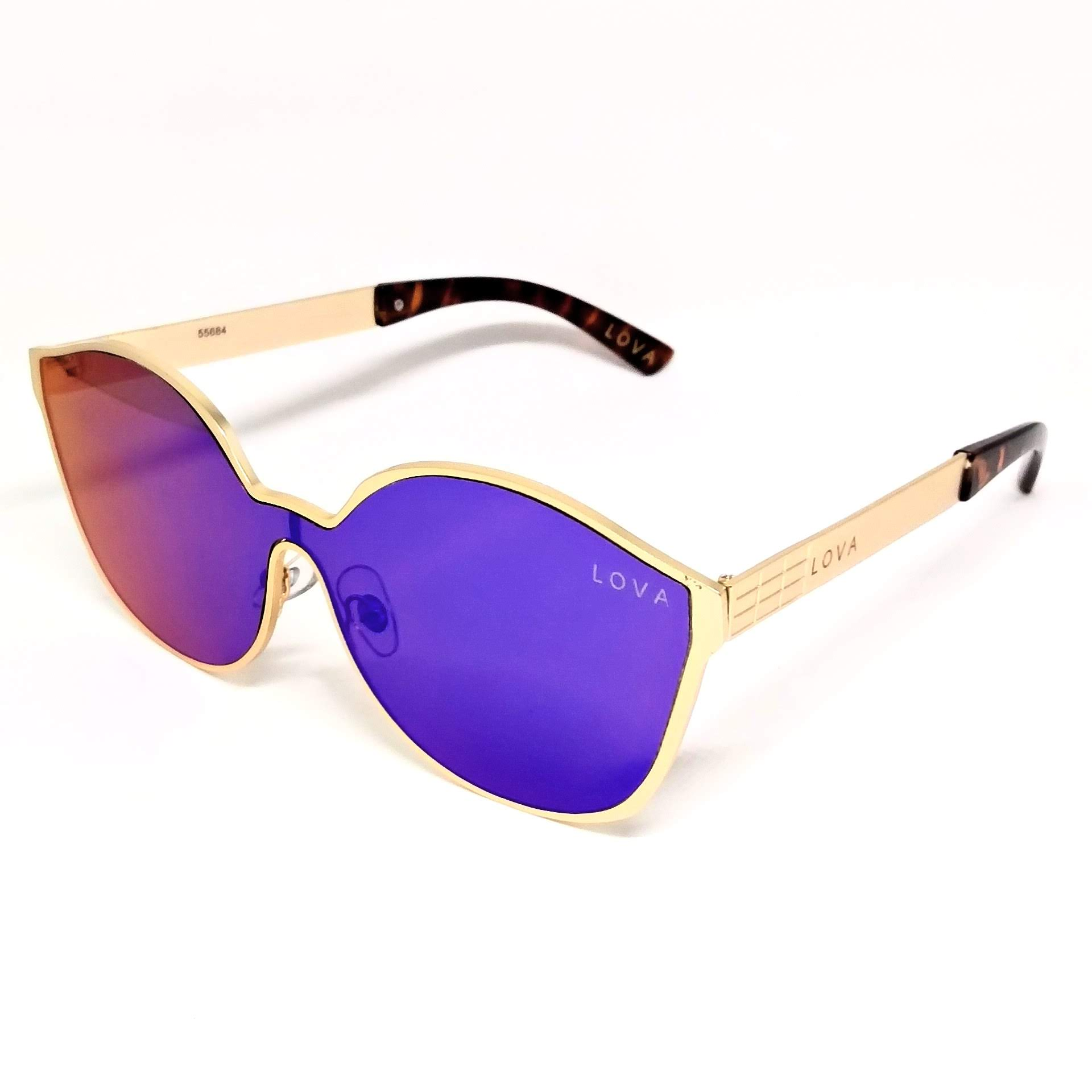 Óculos De Sol Feminino Espelhado Azul Lova Delires Dourado