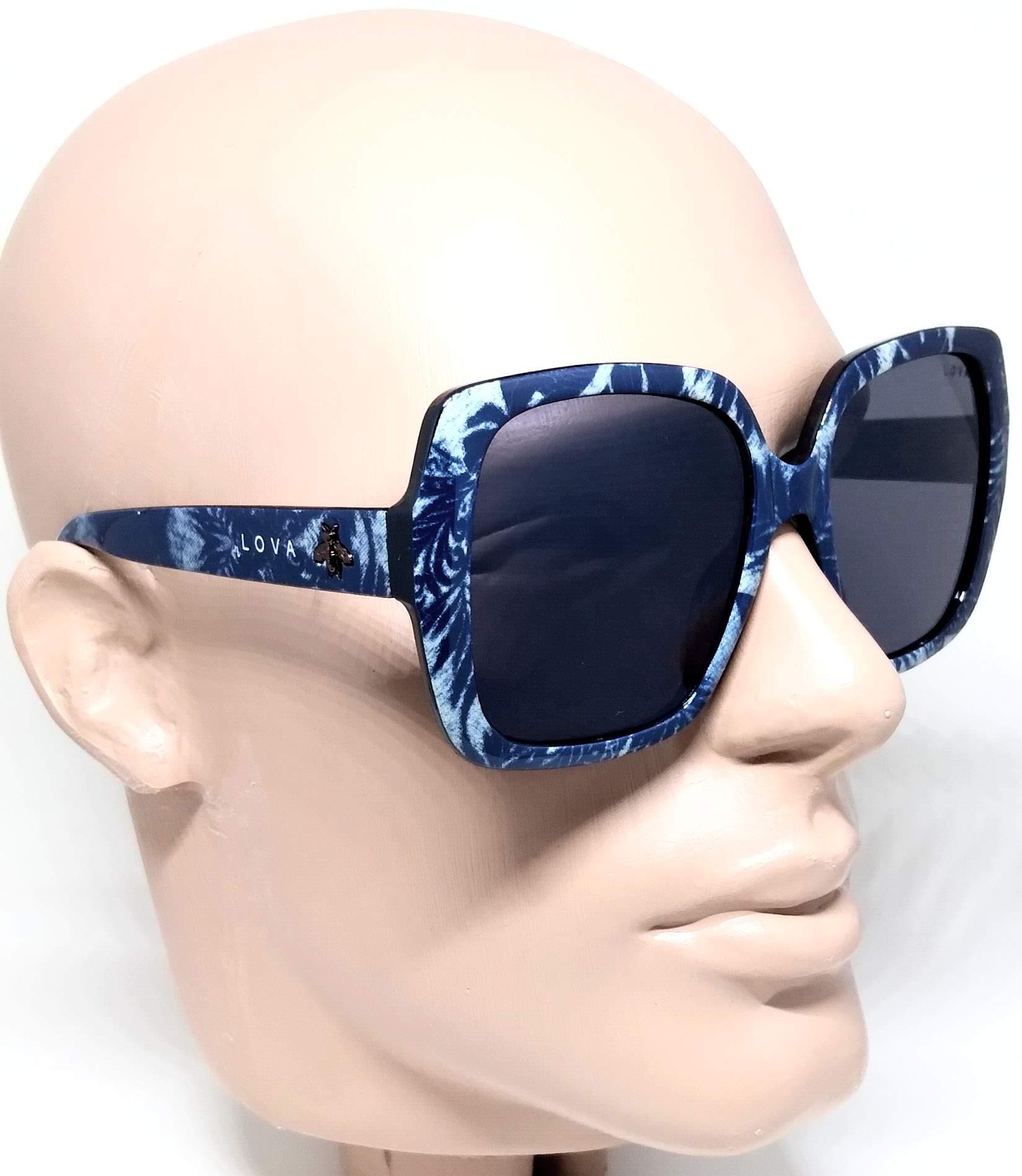 Óculos De Sol Feminino Estampado Beelove Lova Azul