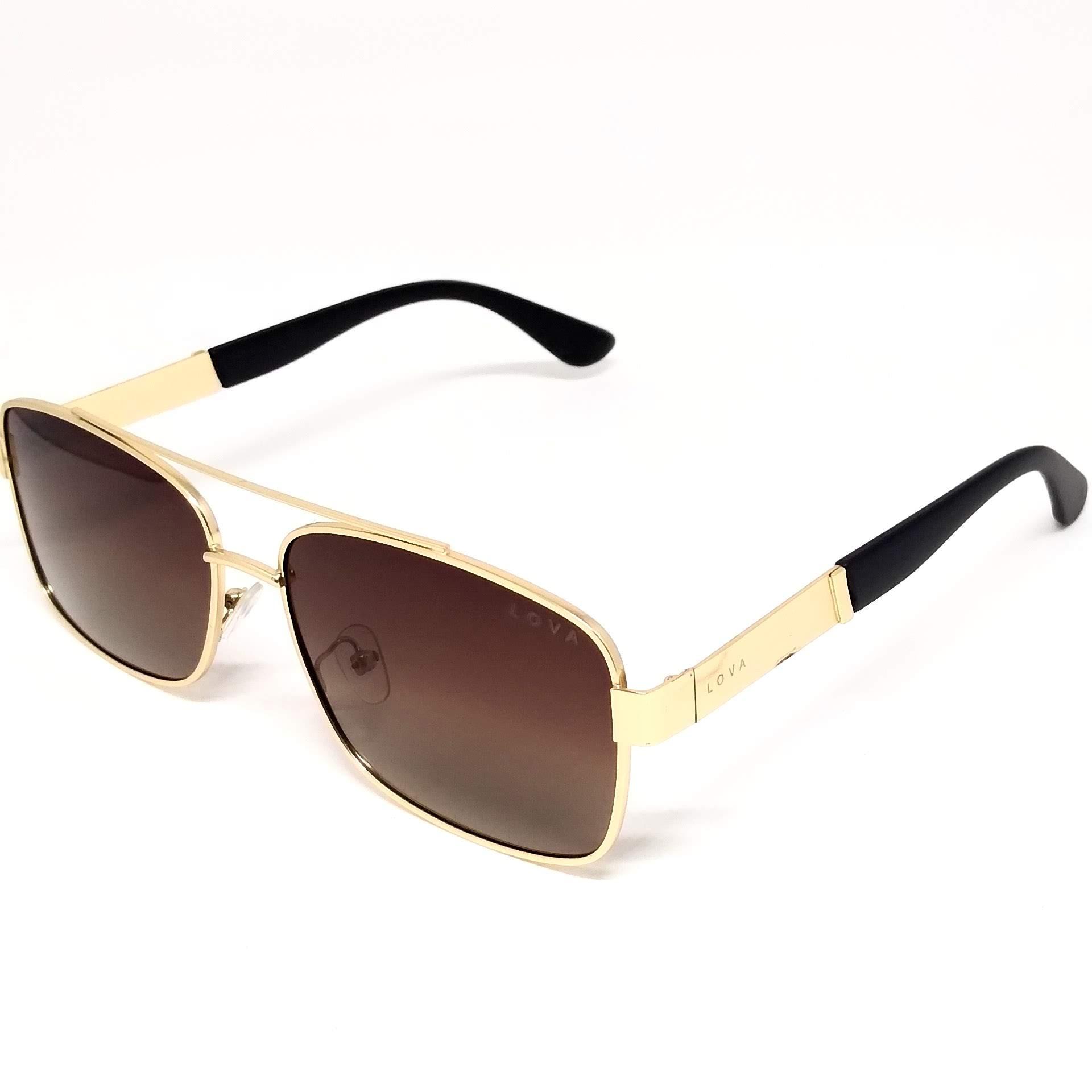 Óculos De Sol Masculino Dourado Polarizado Lova Cop Promoção