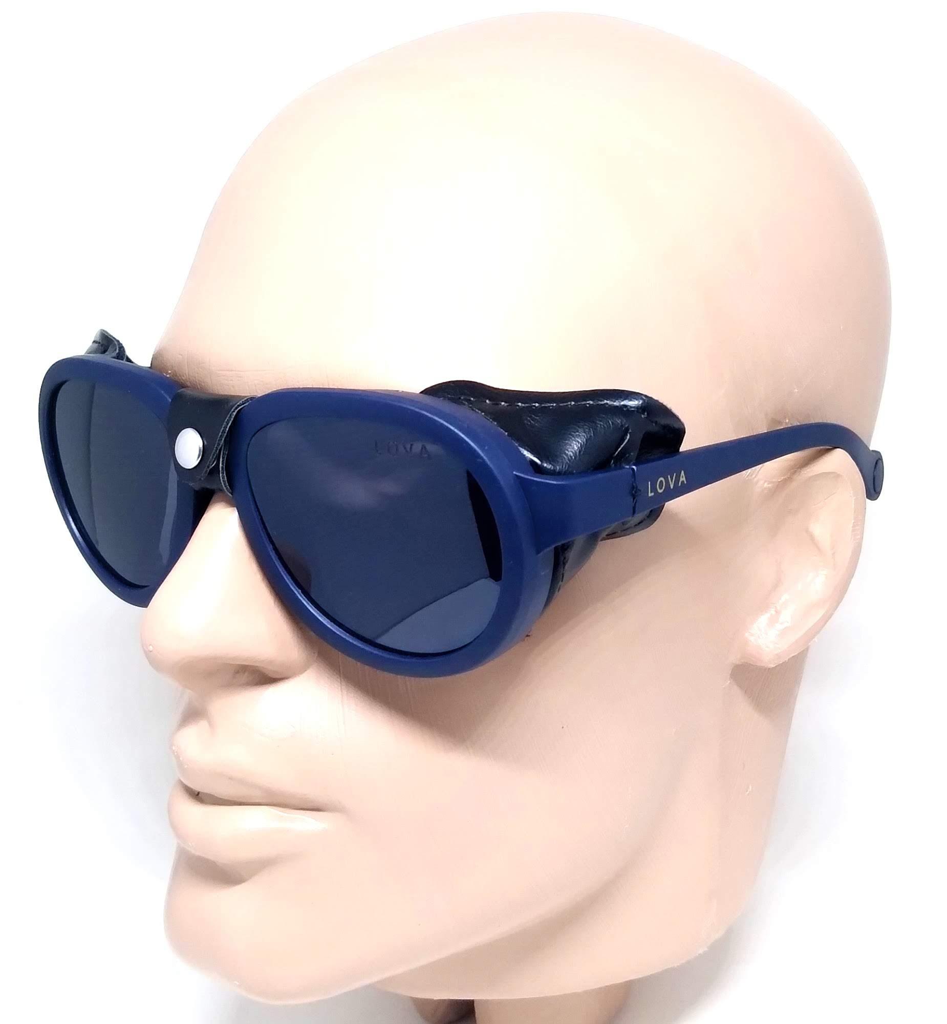 Óculos De Sol Steampunk Couro Grande Lova Azul Marinho