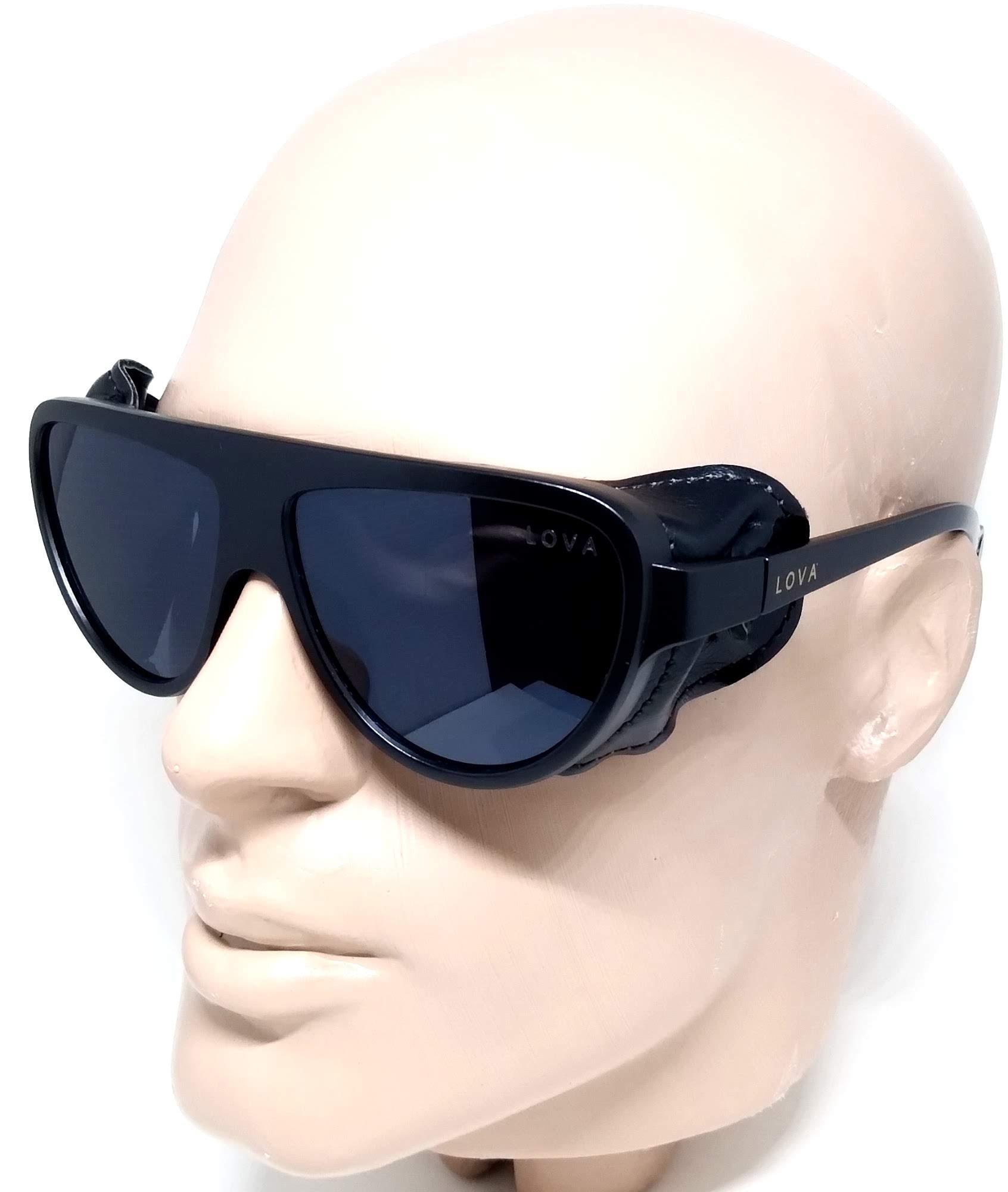 Óculos De Sol Steampunk Couro Grande Lova Preto