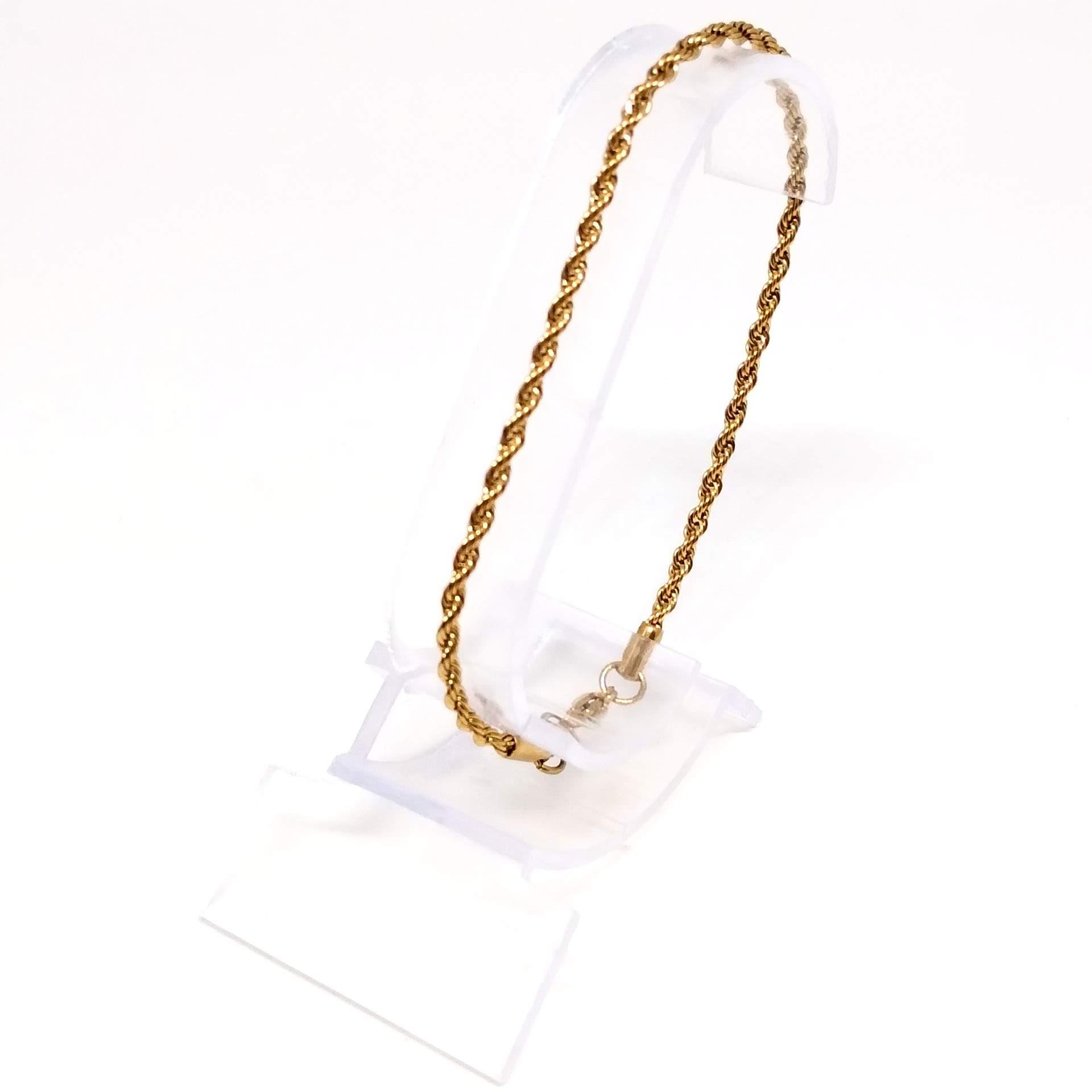 Pulseira Banhada Ouro 18k Malha Corda 19cm 2,5mm