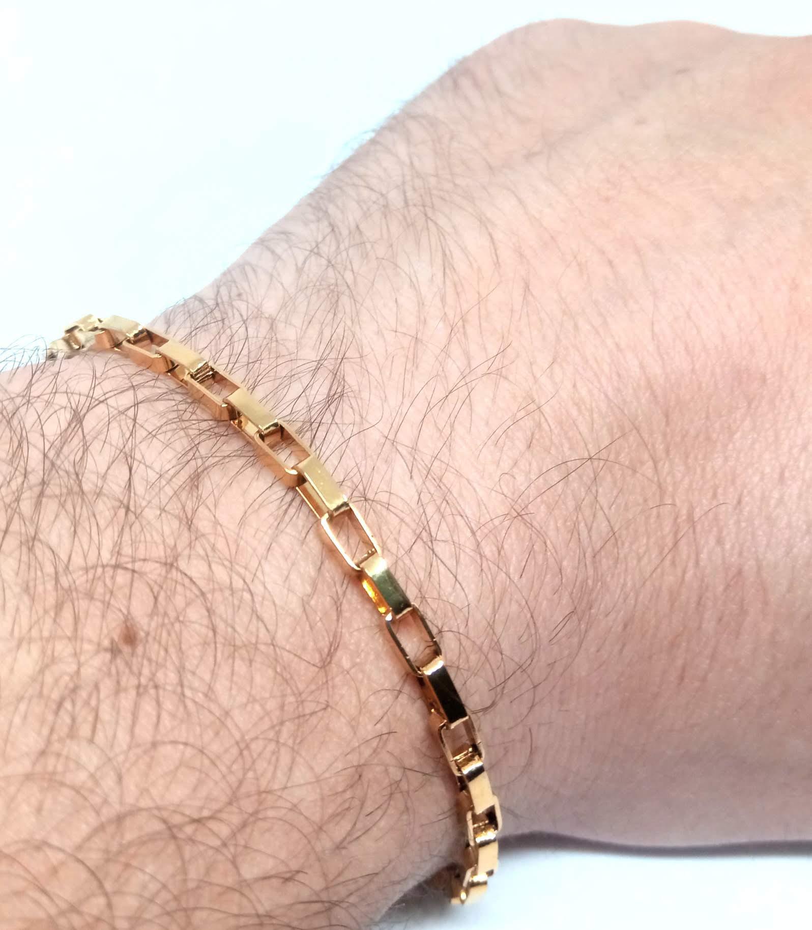 Pulseira Banhada Ouro 18k Tijolinho Quadrado 21cm 3mm