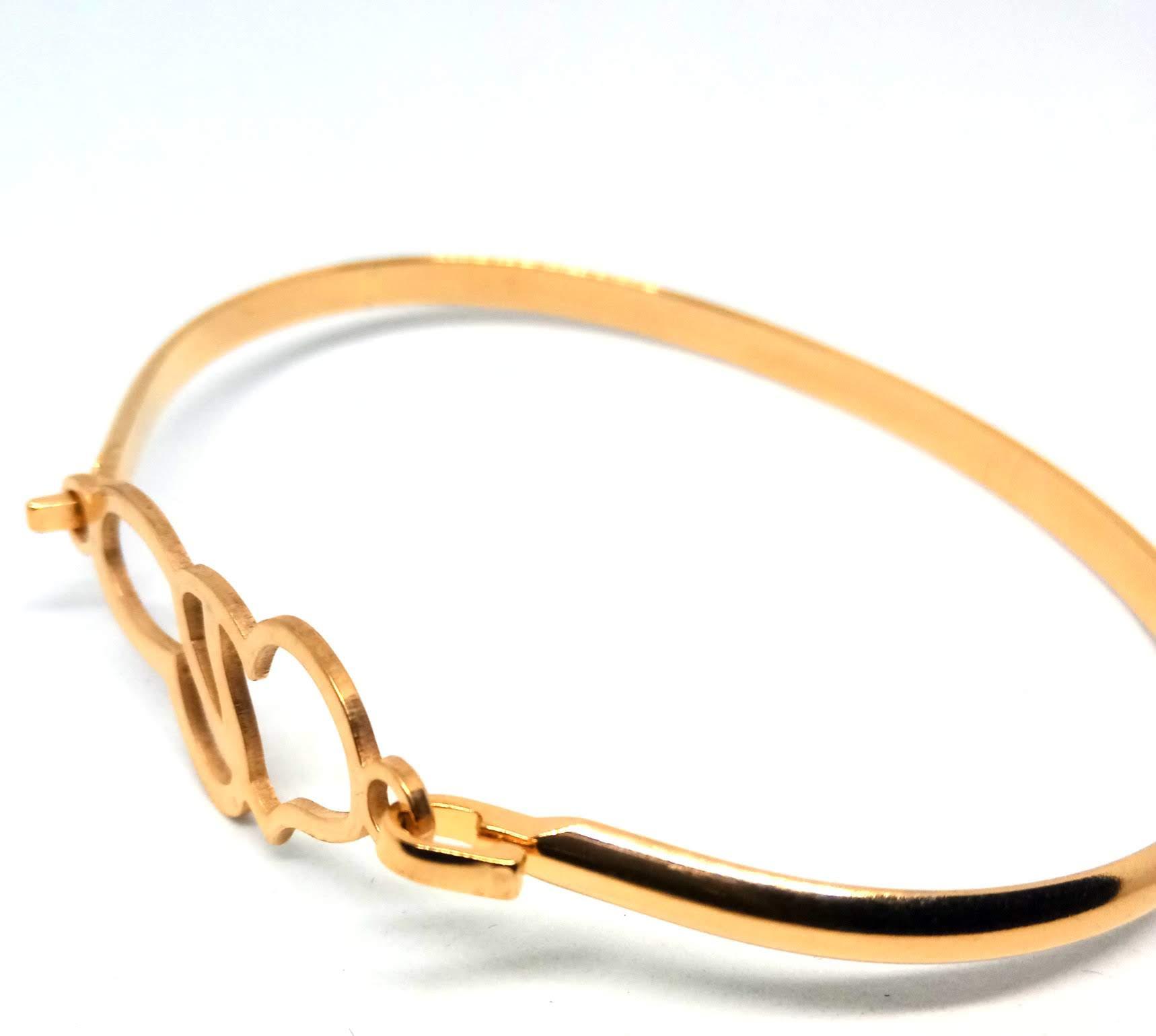 Pulseira Bracelete Feminina 2 Corações Banhada Ouro 18K