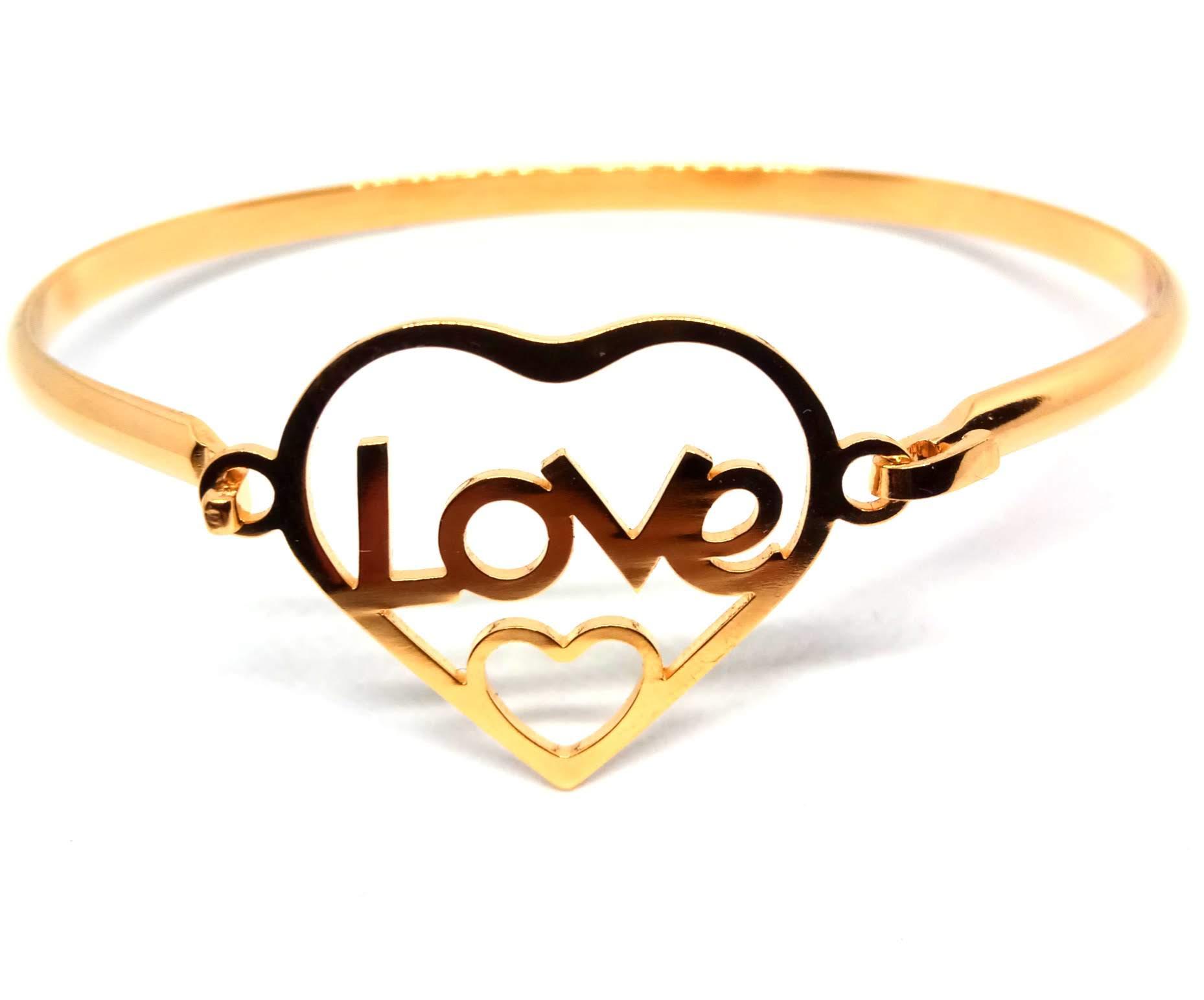 Pulseira Bracelete Feminina Love 2 Coração Banhada Ouro 18K