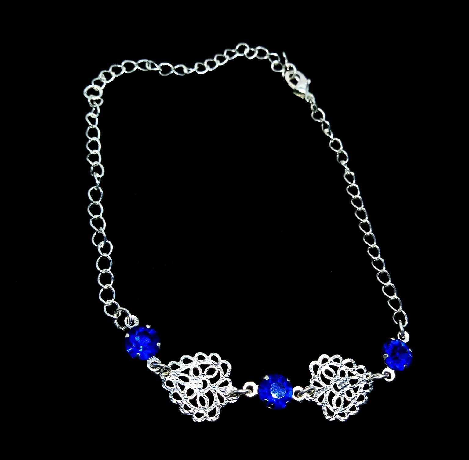 Pulseira Feminina Strass Azul Banhada a Prata 19-25cm 2mm