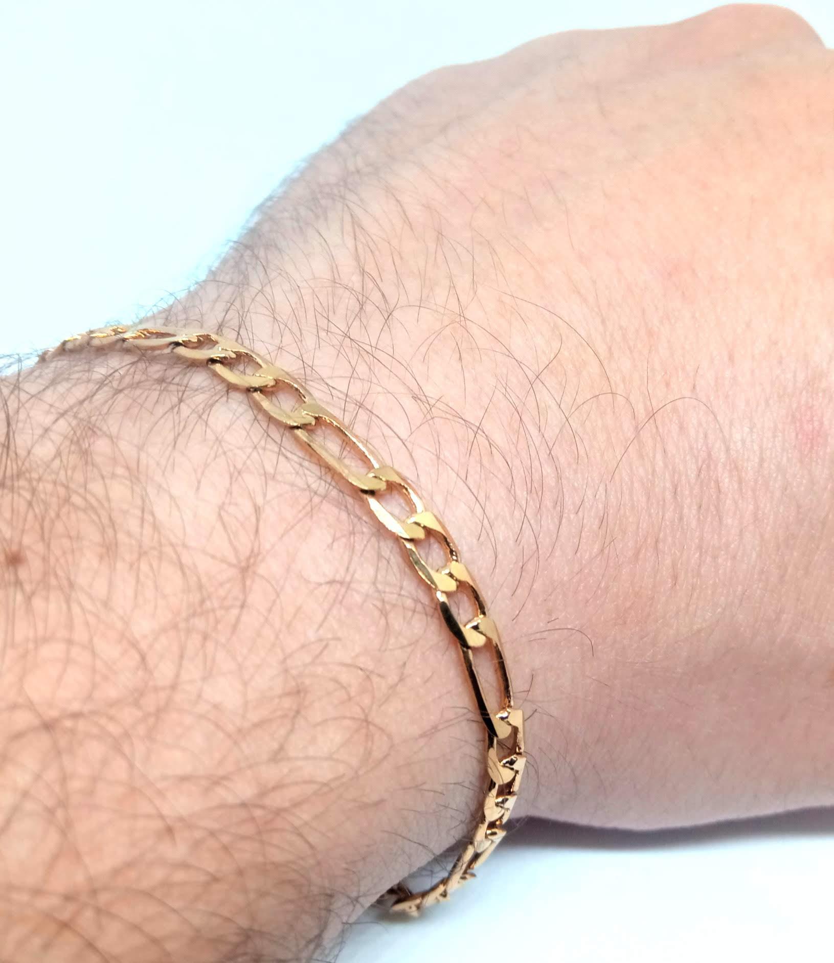 Pulseira Masculina Banhada Ouro 18k Fígaro 3x1 24cm 4,5mm