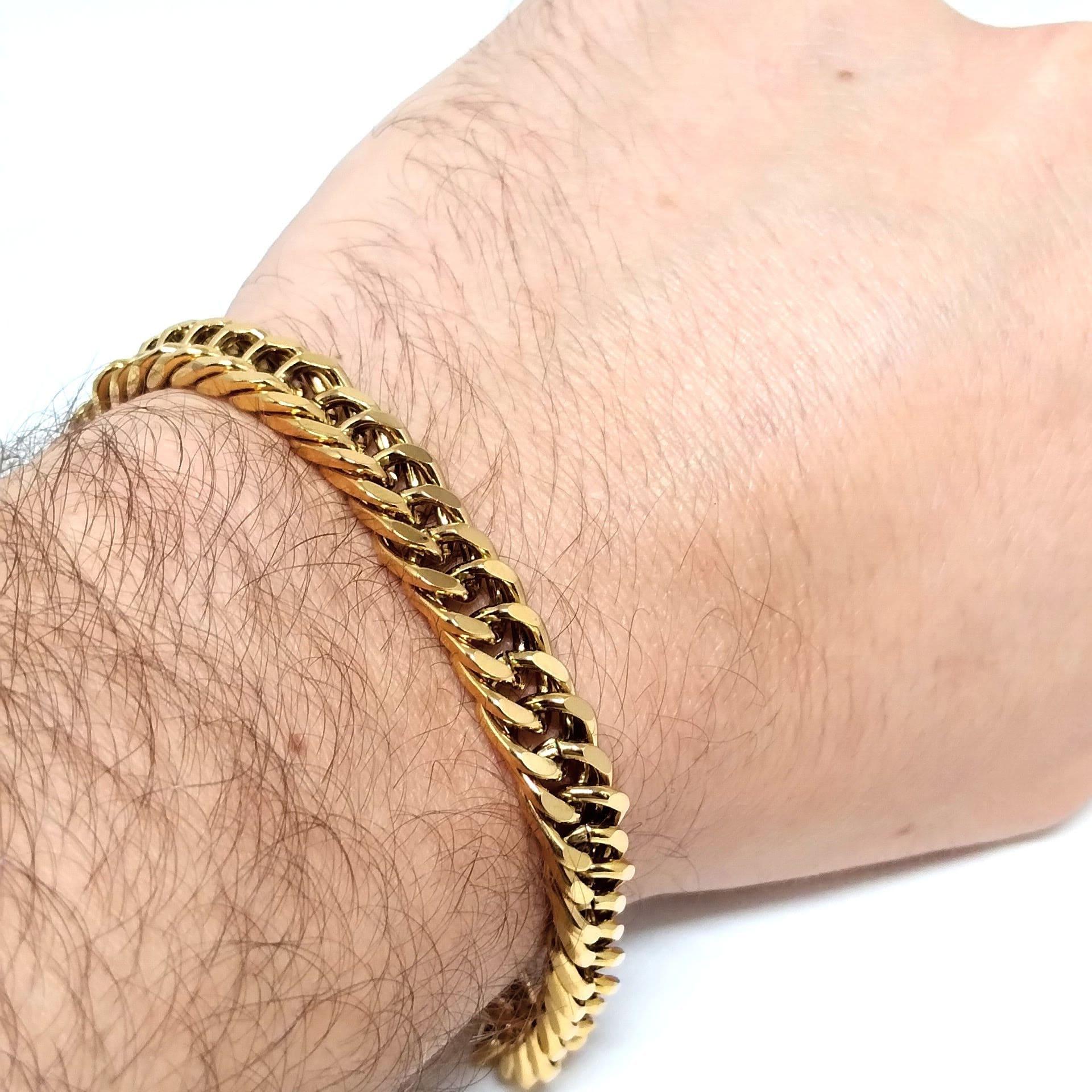 Pulseira Masculina Groumet Banhada Ouro 18k 23cm 8,5mm
