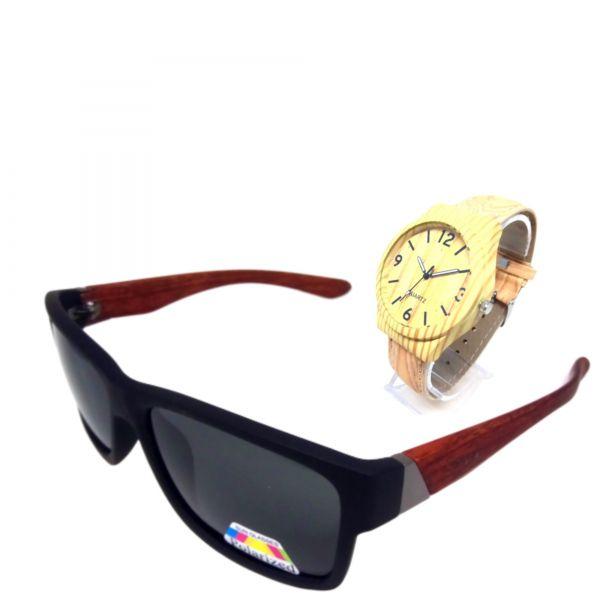 Relógio e Óculos de Sol Amadeirado Lova