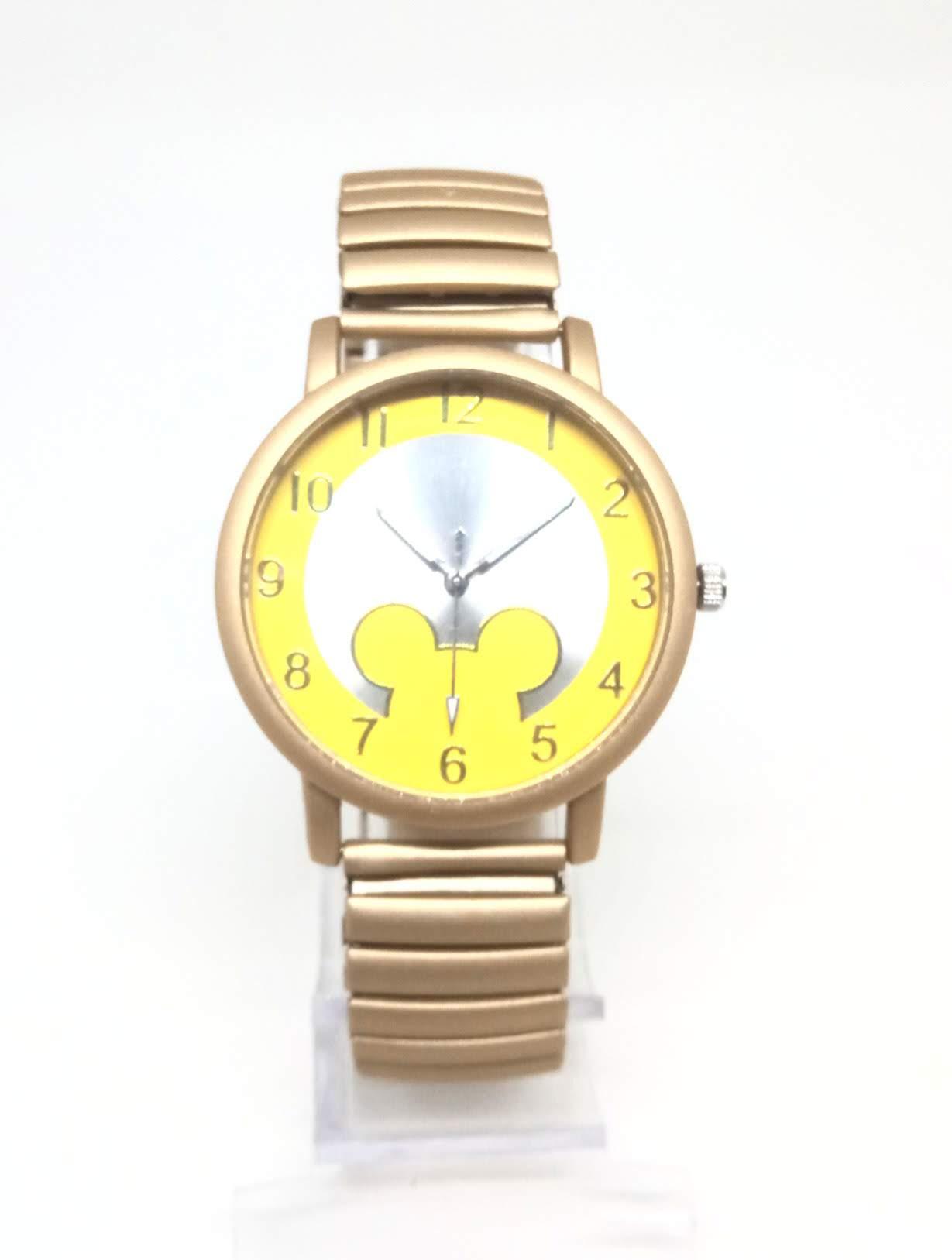 Relógio Feminino Mickey Fashion Dourado Pulseira Mola Lova