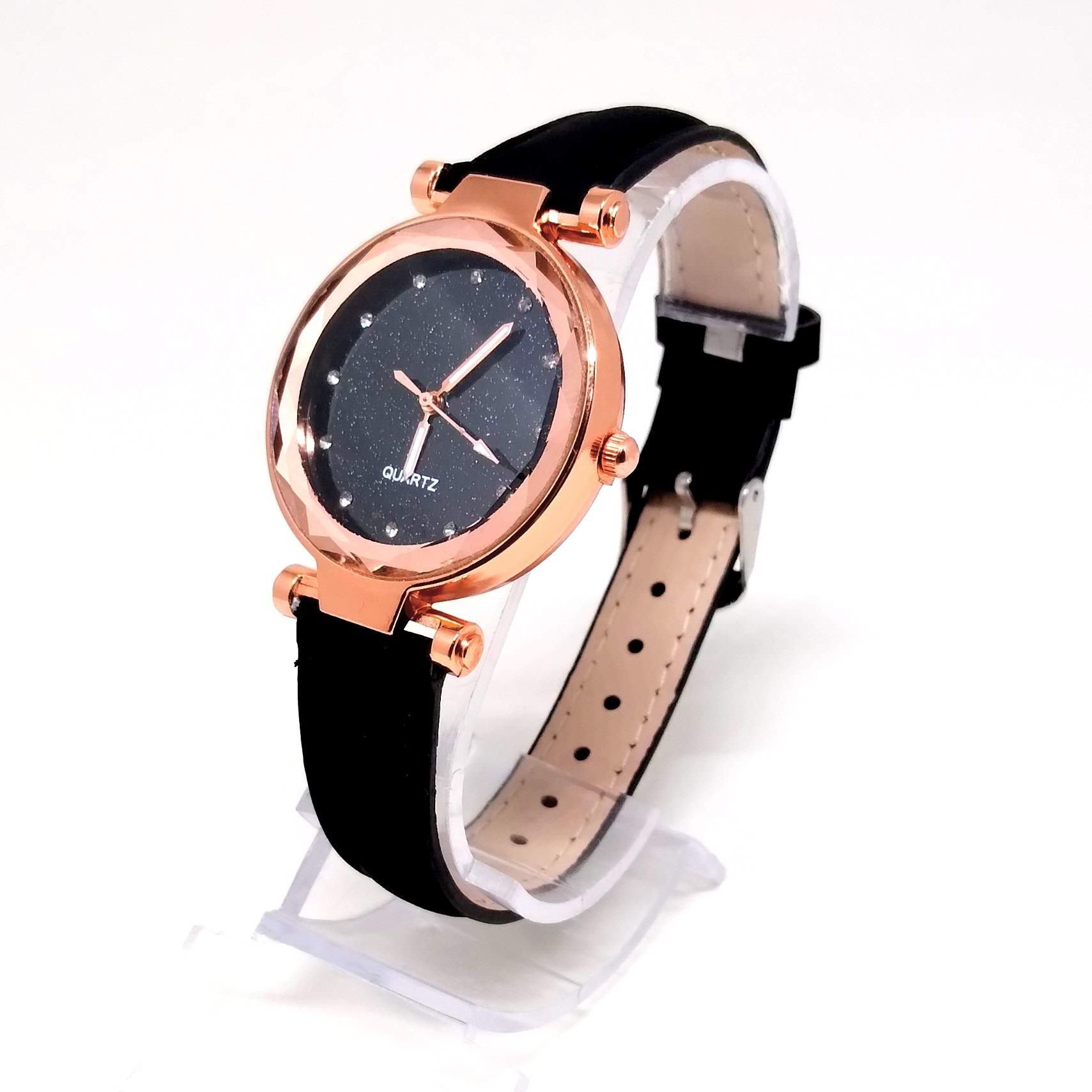 Relógio Feminino Preto com Strass Black Shine Lova