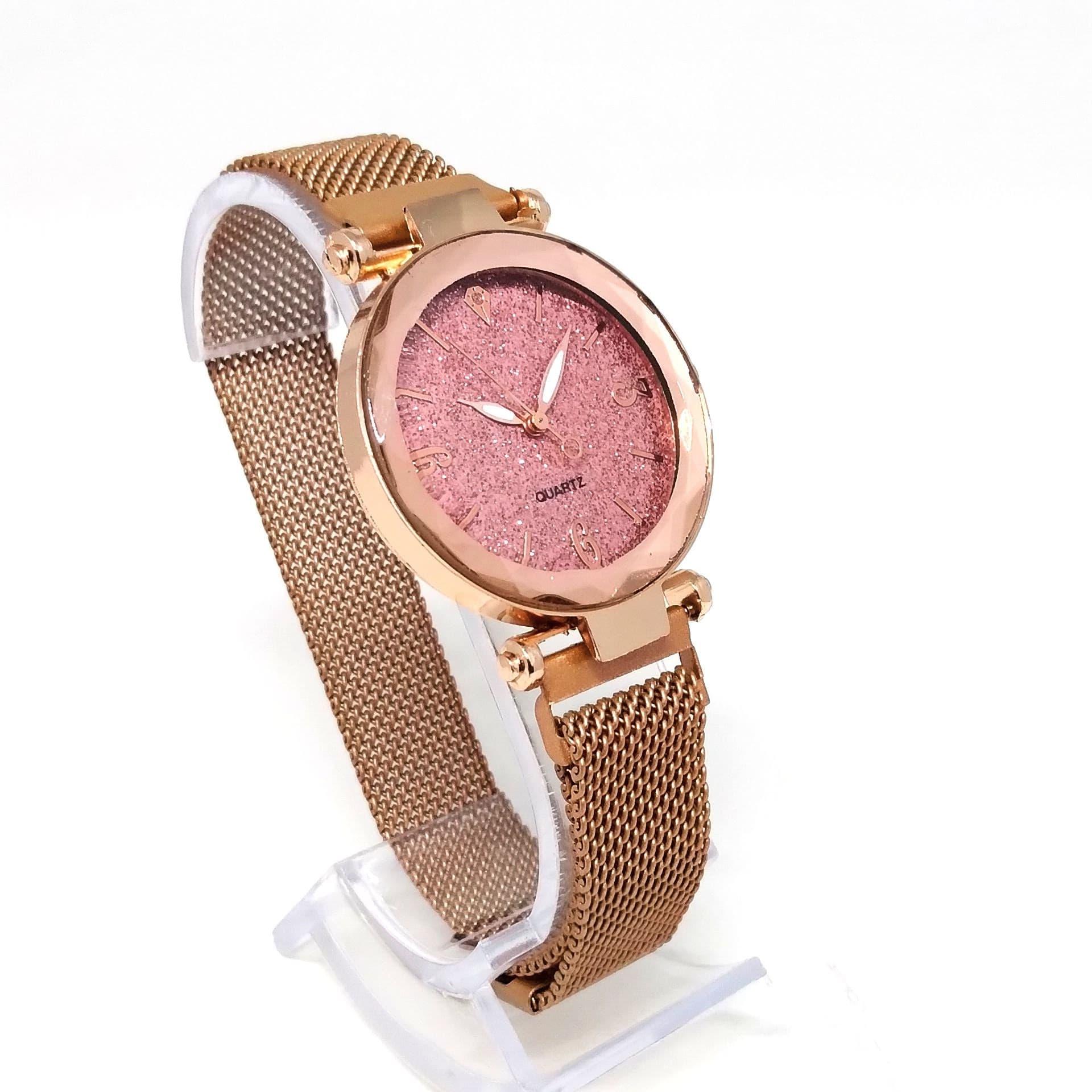 Relógio Feminino Social Aço Dourado Fundo Rosa Shine Lova