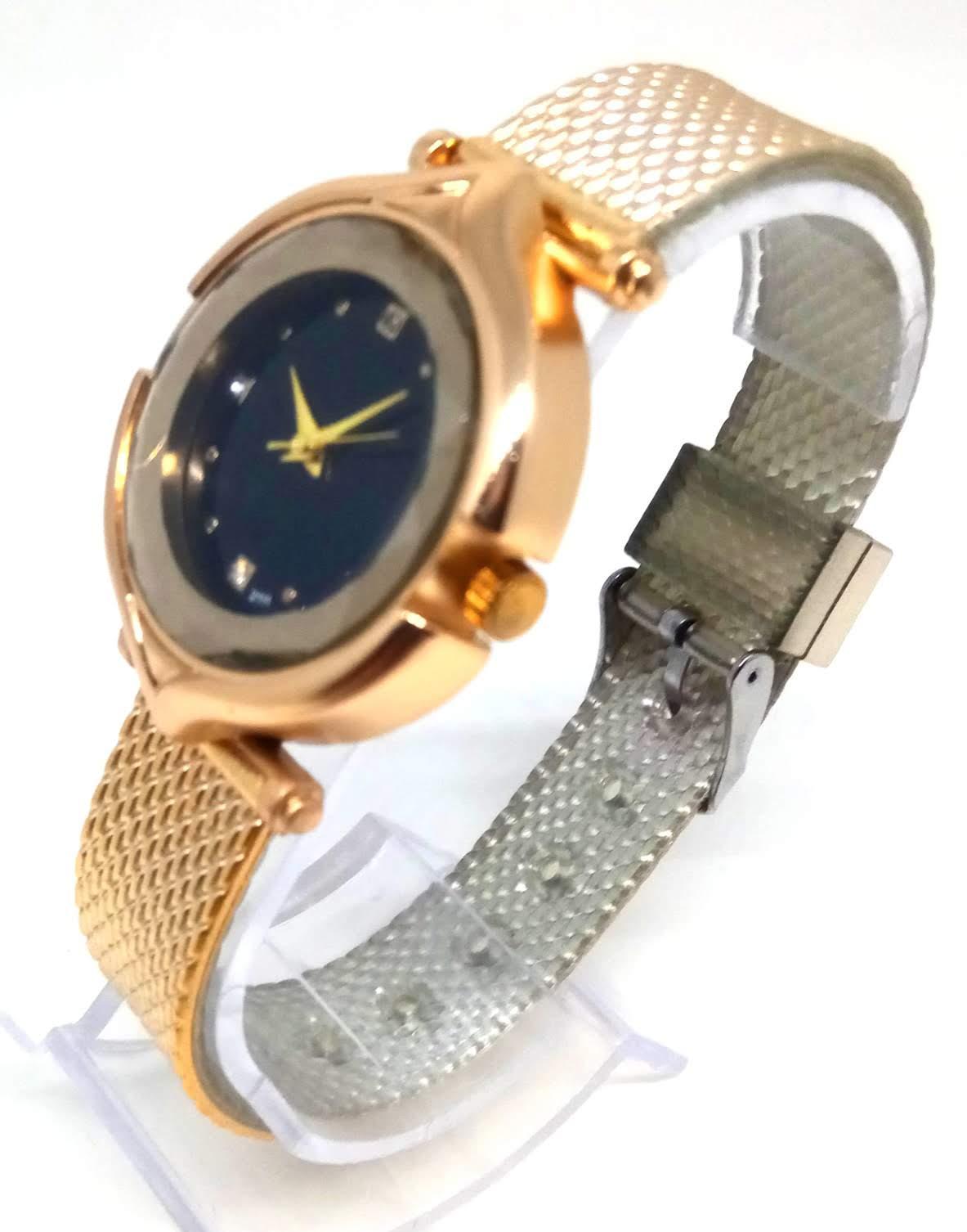 Relógio Feminino Social Dourado Strass Gold Diamond Lova