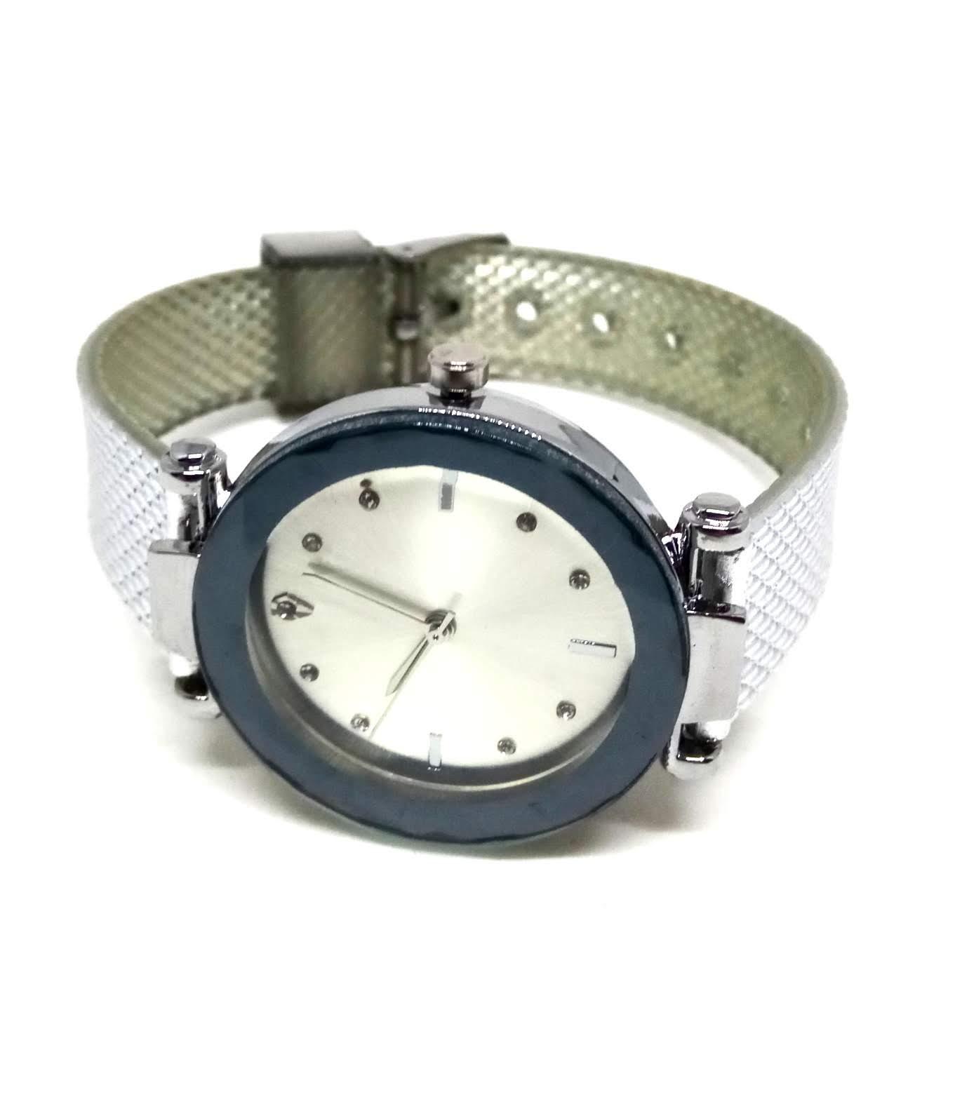 Relógio Feminino Social Prata Strass Silver Diamond Lova