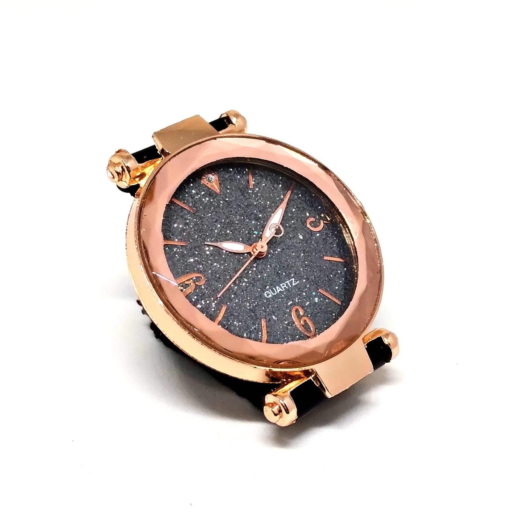 Relógio Feminino Social Preto Aço Pulseira Magnética Lova