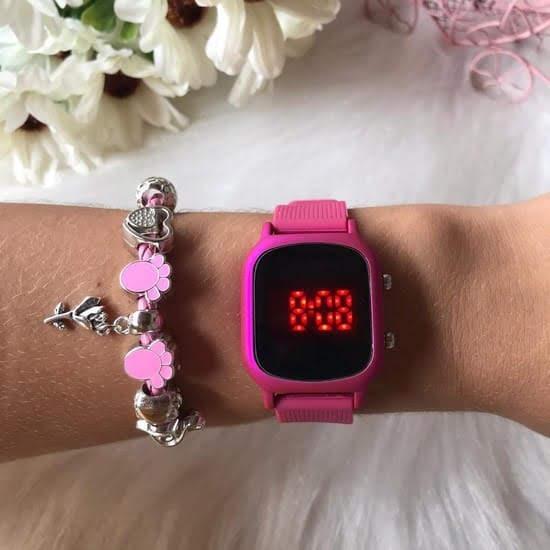 Relógio LED Pulseira Borracha Confortável Sport Feminino