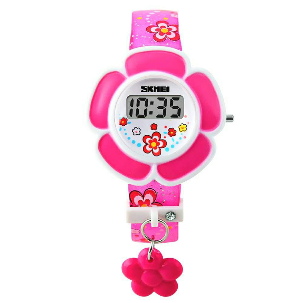 Relógio Skmei Digital Flor Rosa Infantil Feminino