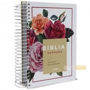Bíblia Anote Espiral Floral   NVI   Letra Normal   Com Espaço Para Anotações