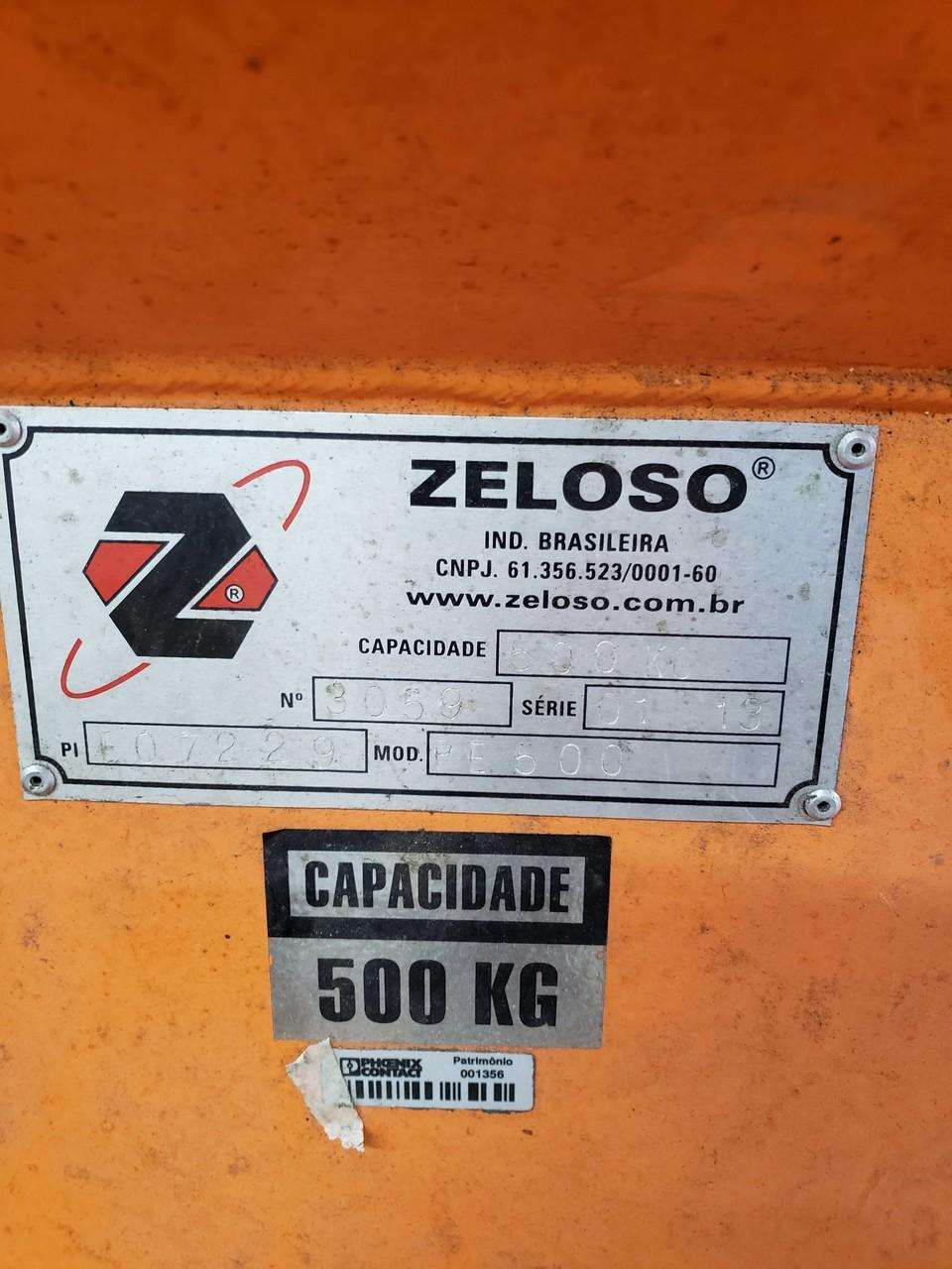 Carro Plataforma Hidraulico Manual, Capacidade 500Kg, Modelo PE500, Altura de elevação 1600mm, plataforma 800x800, marca Zeloso - (Usado)  - Atlasmaq