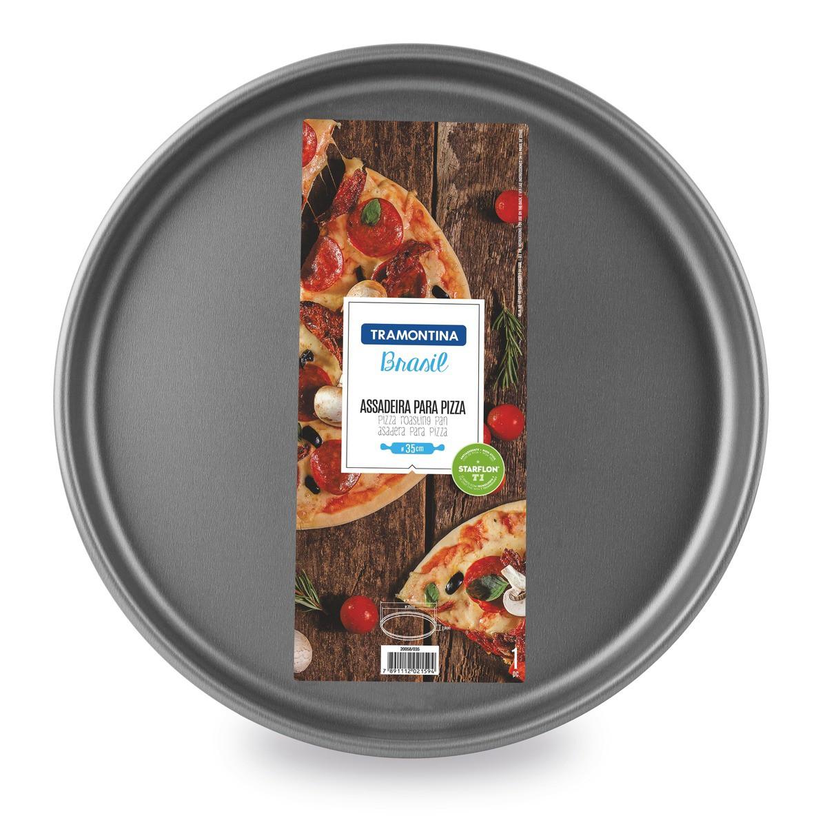 Assadeira para Pizza Tramontina Pizza em Alumínio com Revestimento Interno e Externo Antiaderente Starflon T1 Grafite 35 cm 2,5 L  Tramontina 20058035