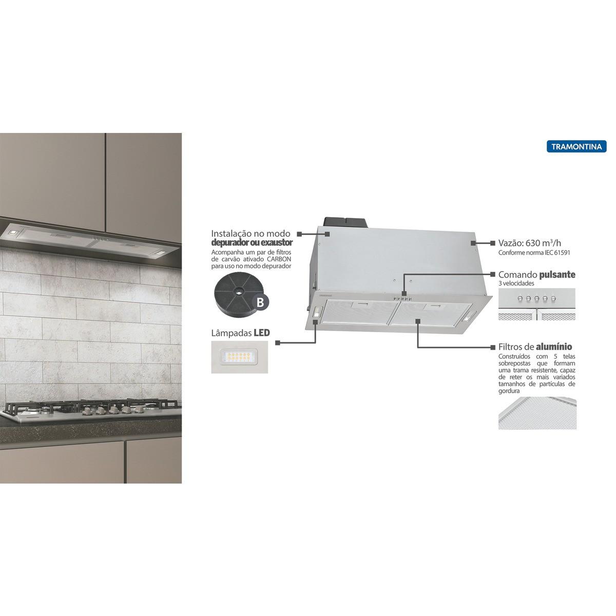 Coifa de Embutir Tramontina Incasso Retangular em Aço Inox 75 cm 127 V  Tramontina 95800015